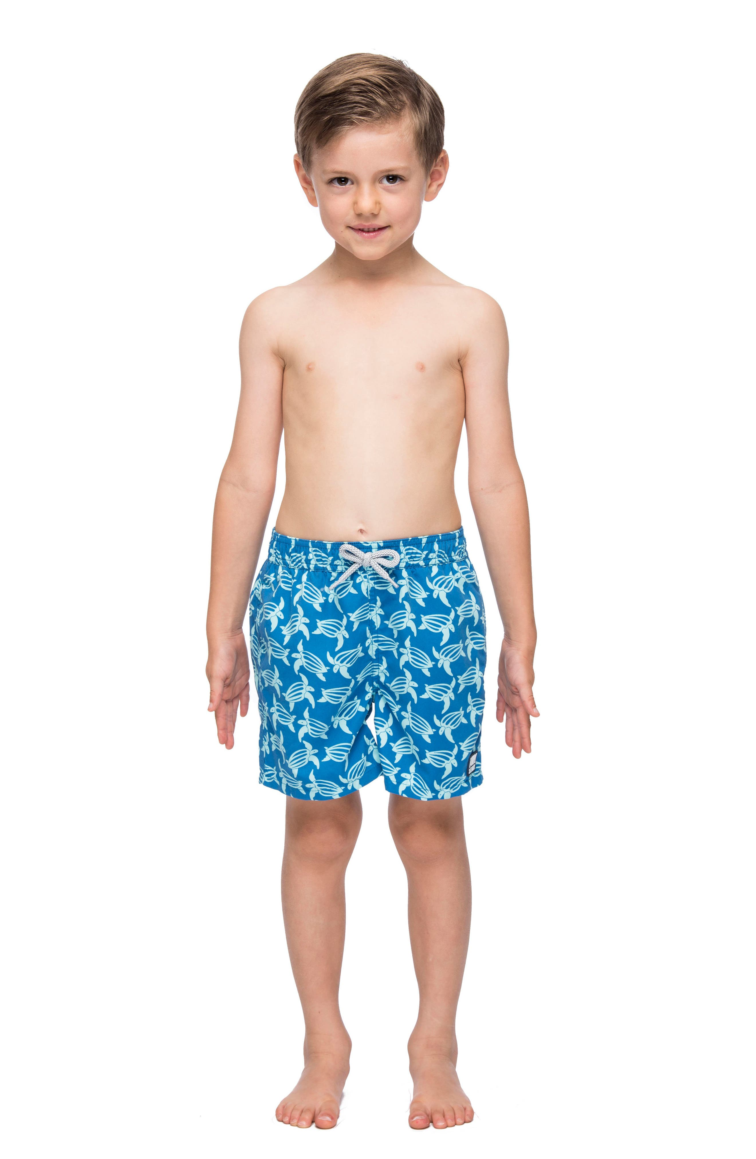 Turtle Swim Trunks,                             Alternate thumbnail 3, color,                             Mid Blue/ Sky