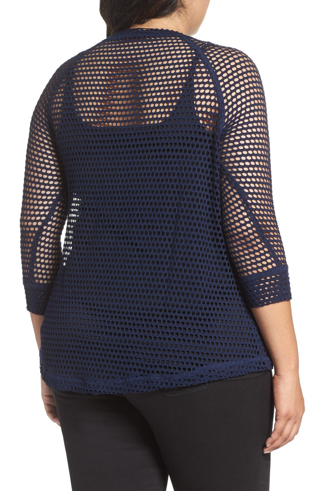 Alternate Image 3  - Bobeau Raglan Sleeve Mesh Top (Plus Size)
