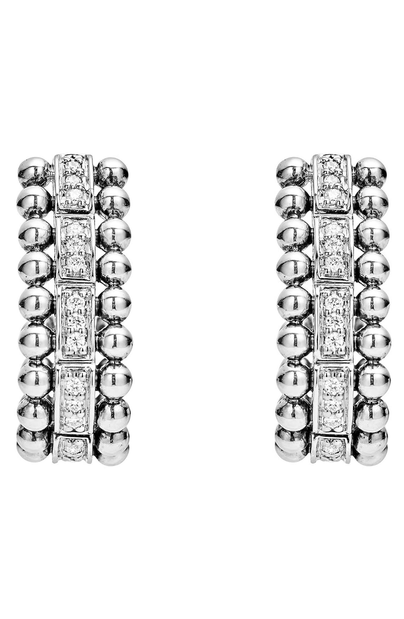Caviar Spark Diamond Oval Hoop Earrings,                             Alternate thumbnail 2, color,                             Silver/ Diamond