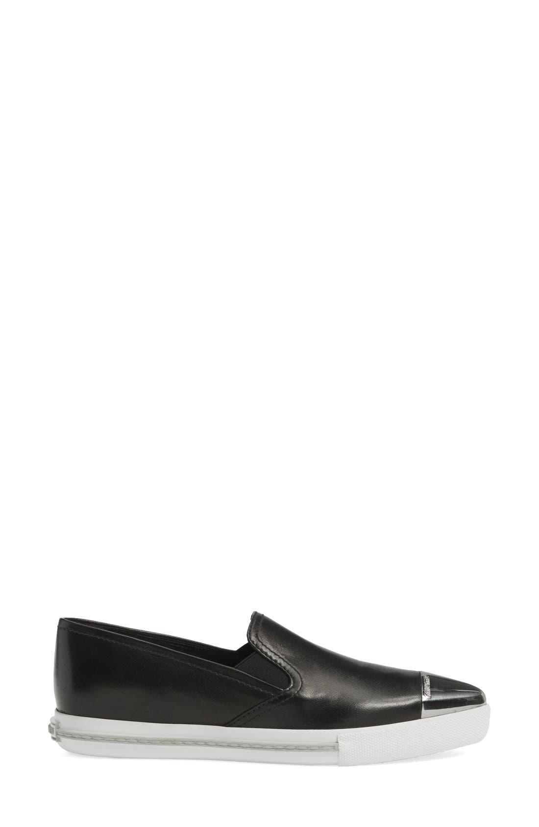 Metal Cap Toe Skate Sneaker,                             Alternate thumbnail 4, color,                             Black Nappa Leather