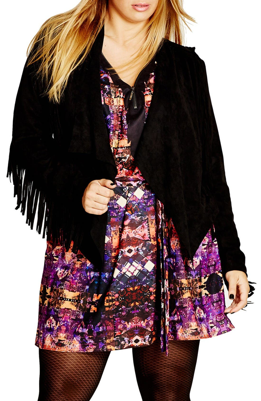 CITY CHIC Faux Suede Fringe Jacket