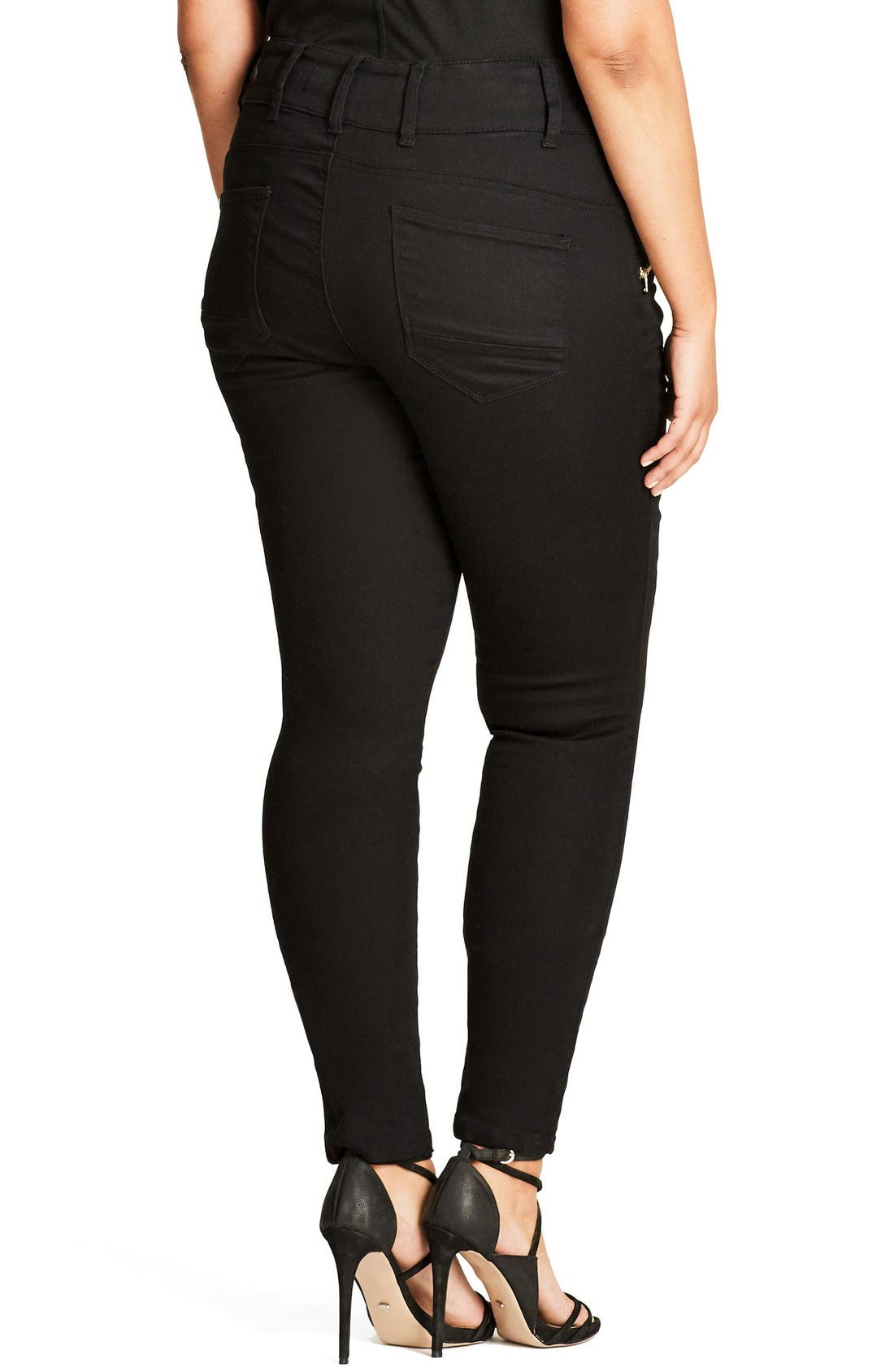 Alternate Image 2  - City Chic Jet Apple Stretch Skinny Jeans (Plus Size)