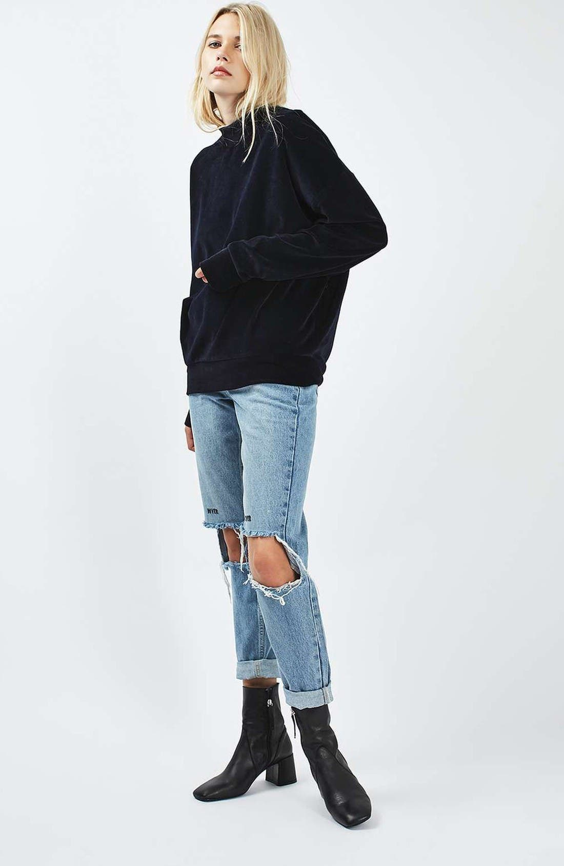 Alternate Image 2  - Topshop Embroidered Slogan Ripped Jeans