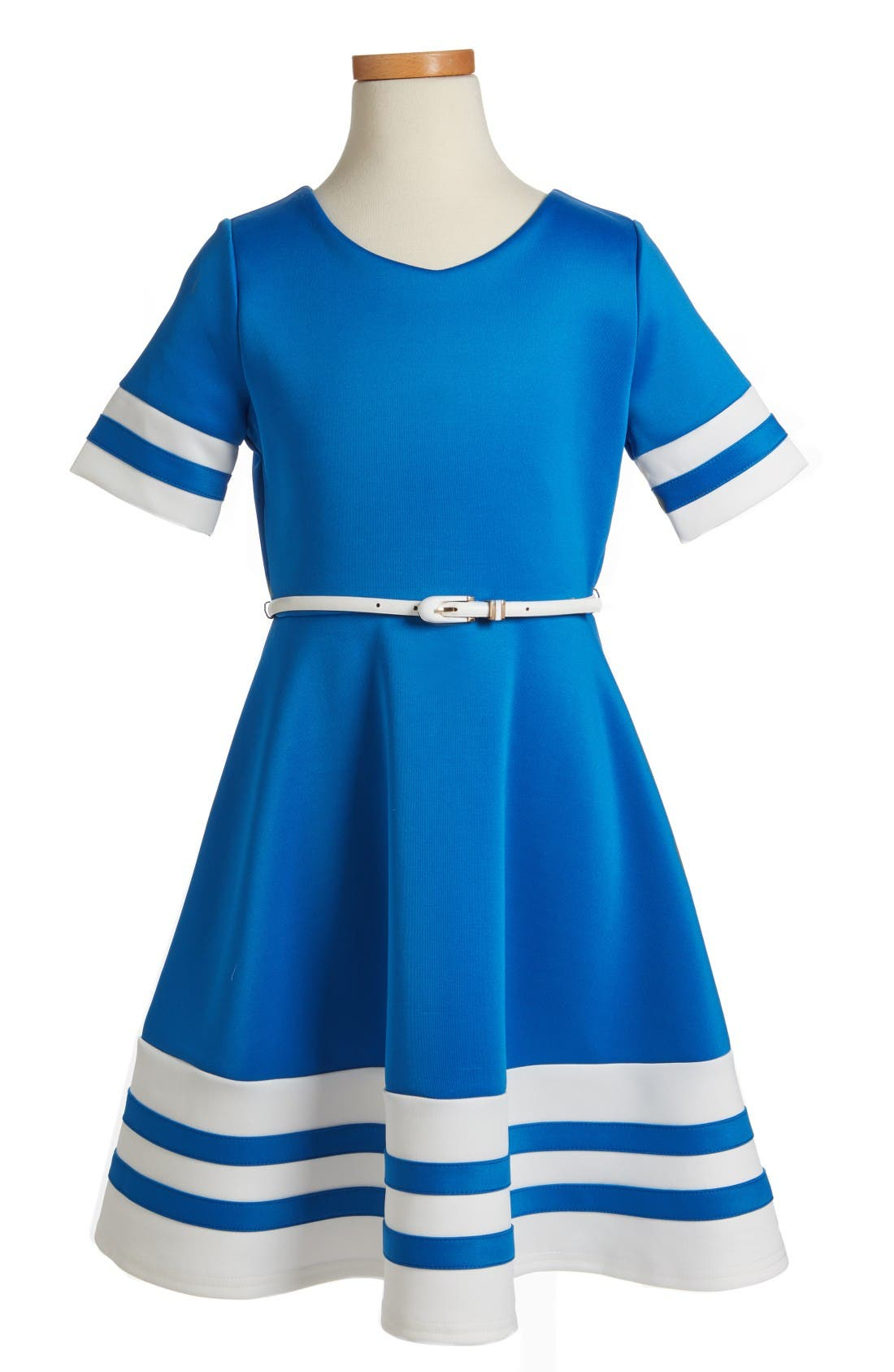 Scuba Fit & Flare Dress,                         Main,                         color, Royal