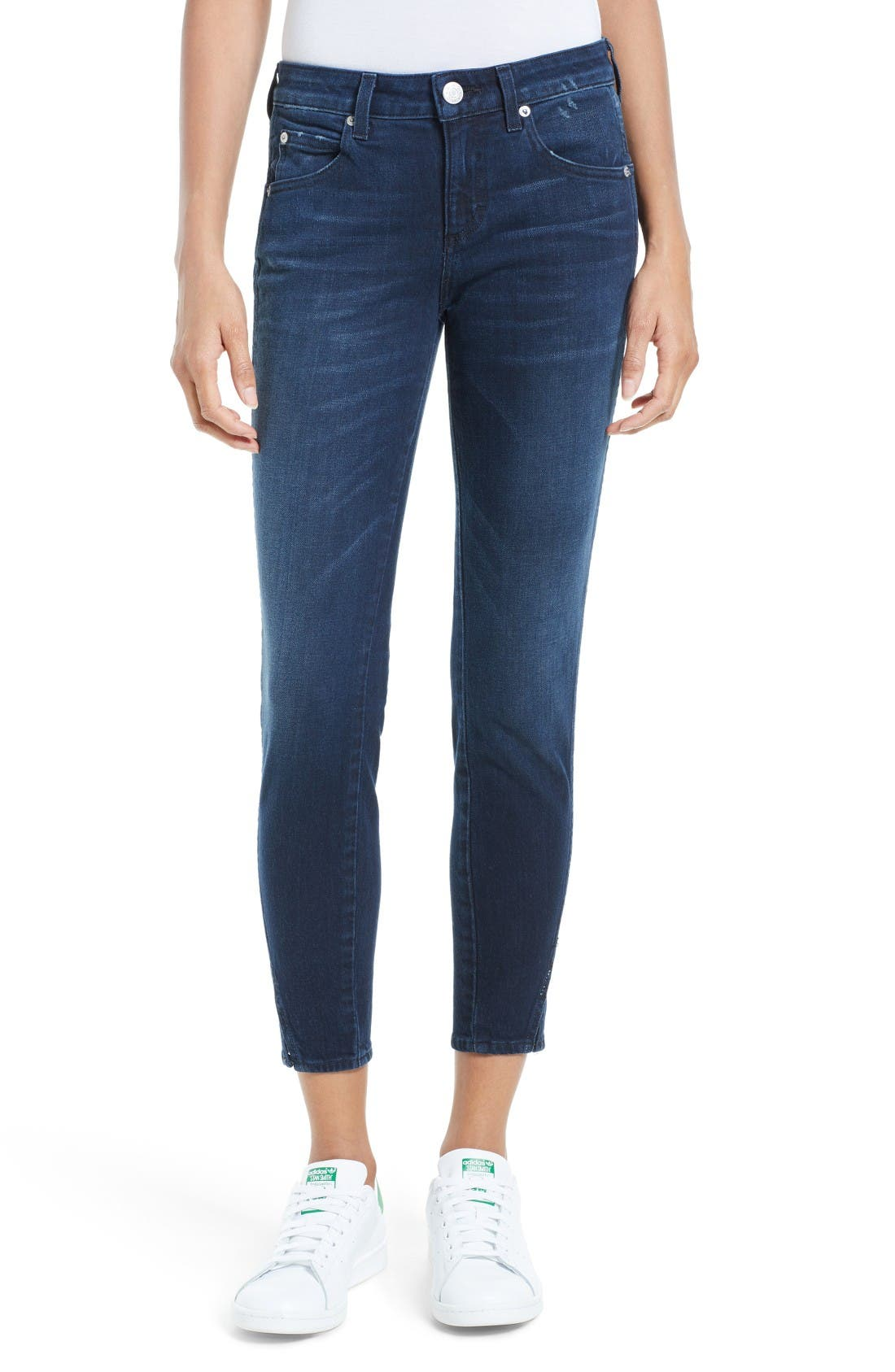 Main Image - AMO 'Twist' Crop Skinny Jeans (Eclipse)