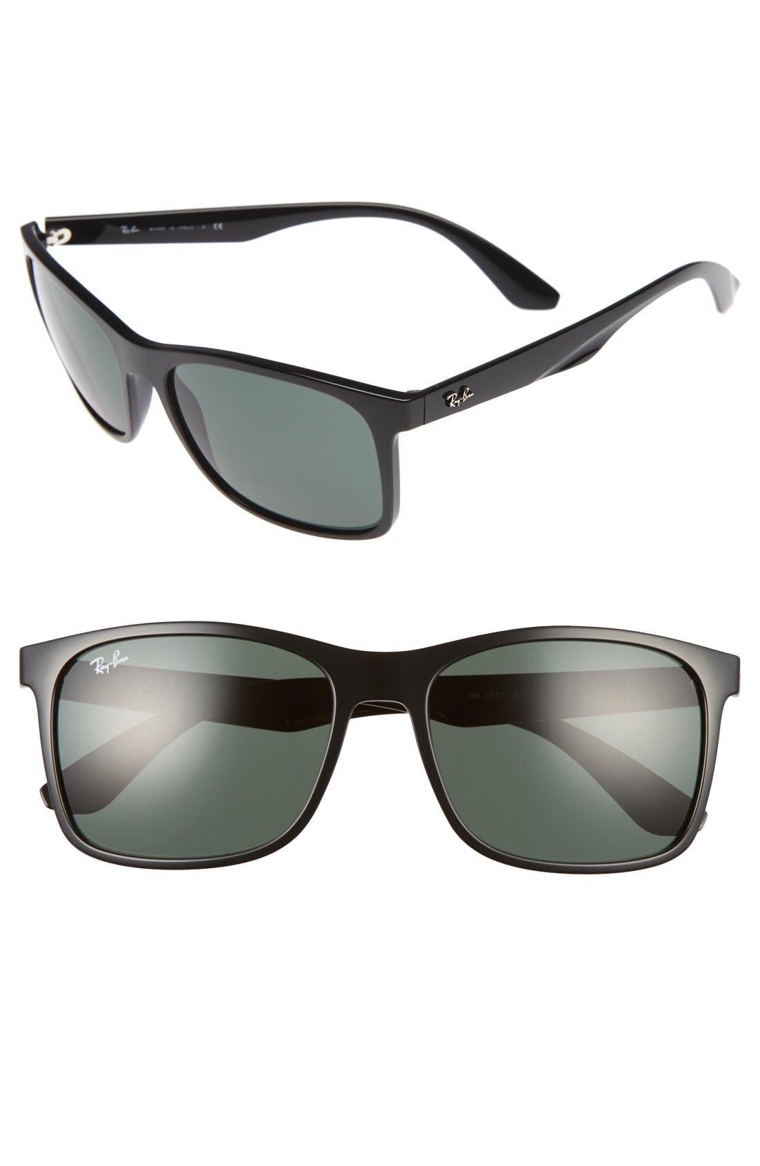 57mm Square Sunglasses,                             Main thumbnail 1, color,                             Black / Grey Green