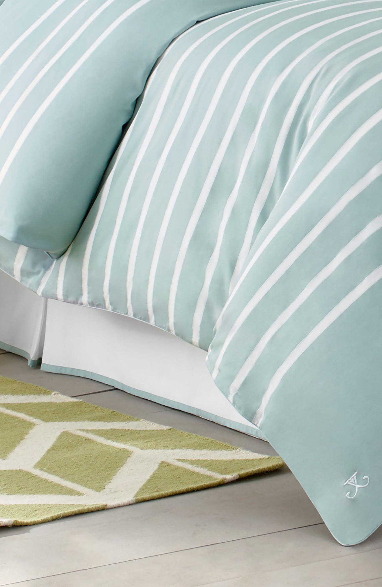 Capri Stripe Bed Skirt,                             Main thumbnail 1, color,                             Seaside Aqua