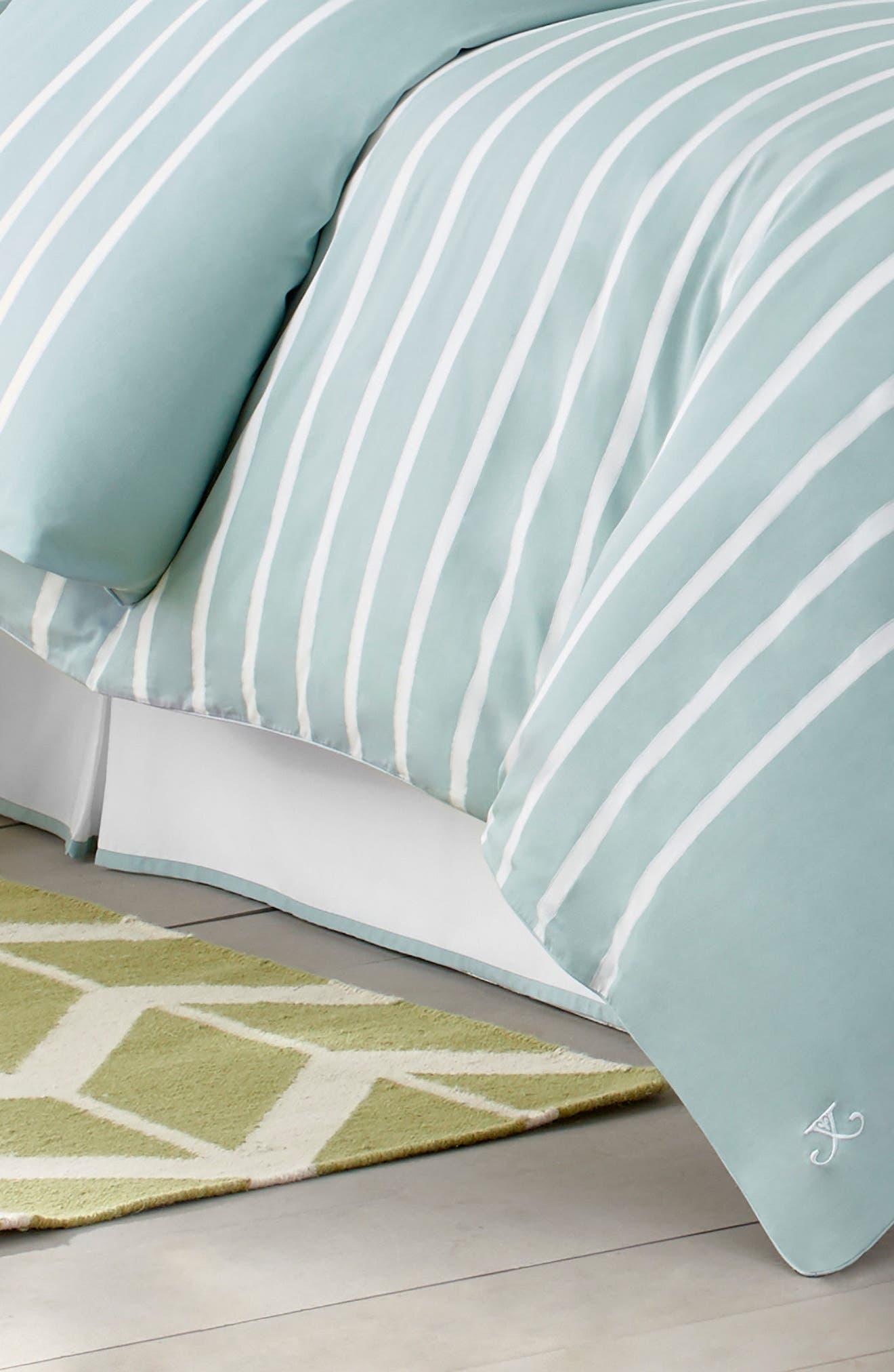 Capri Stripe Bed Skirt,                         Main,                         color, Seaside Aqua