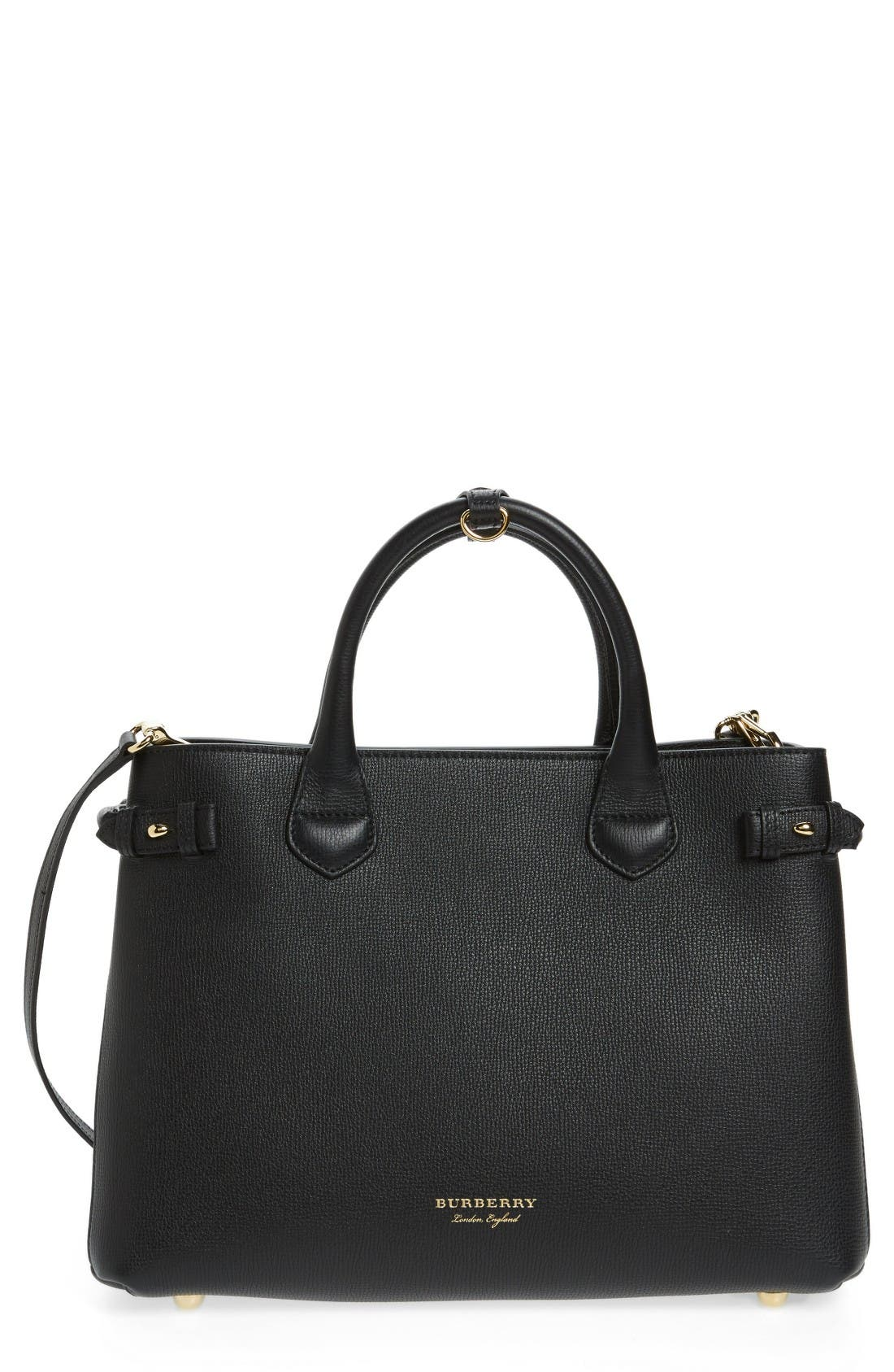 Alternate Image 1 Selected - Burberry Medium Banner House Check Leather Tote