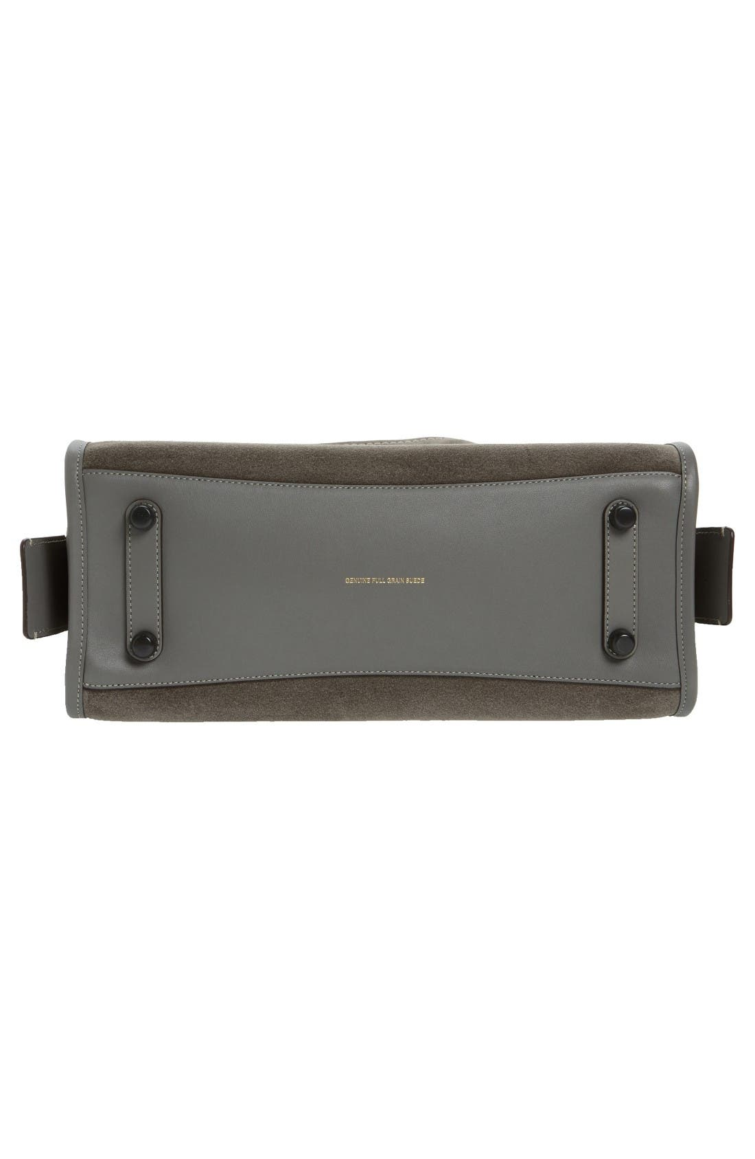 'Rogue' Leather Satchel,                             Alternate thumbnail 4, color,                             Heather Grey