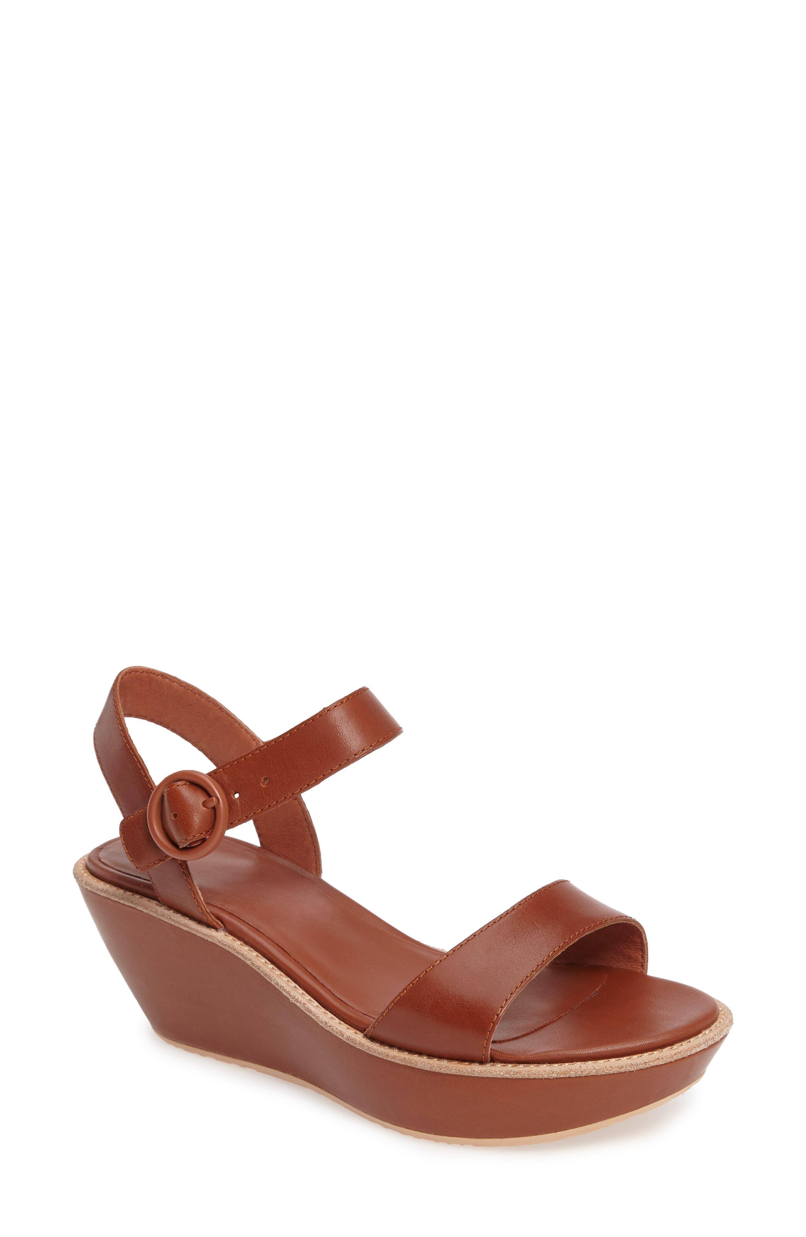 'Damas' Wedge Sandal,                             Main thumbnail 1, color,                             Brown Leather