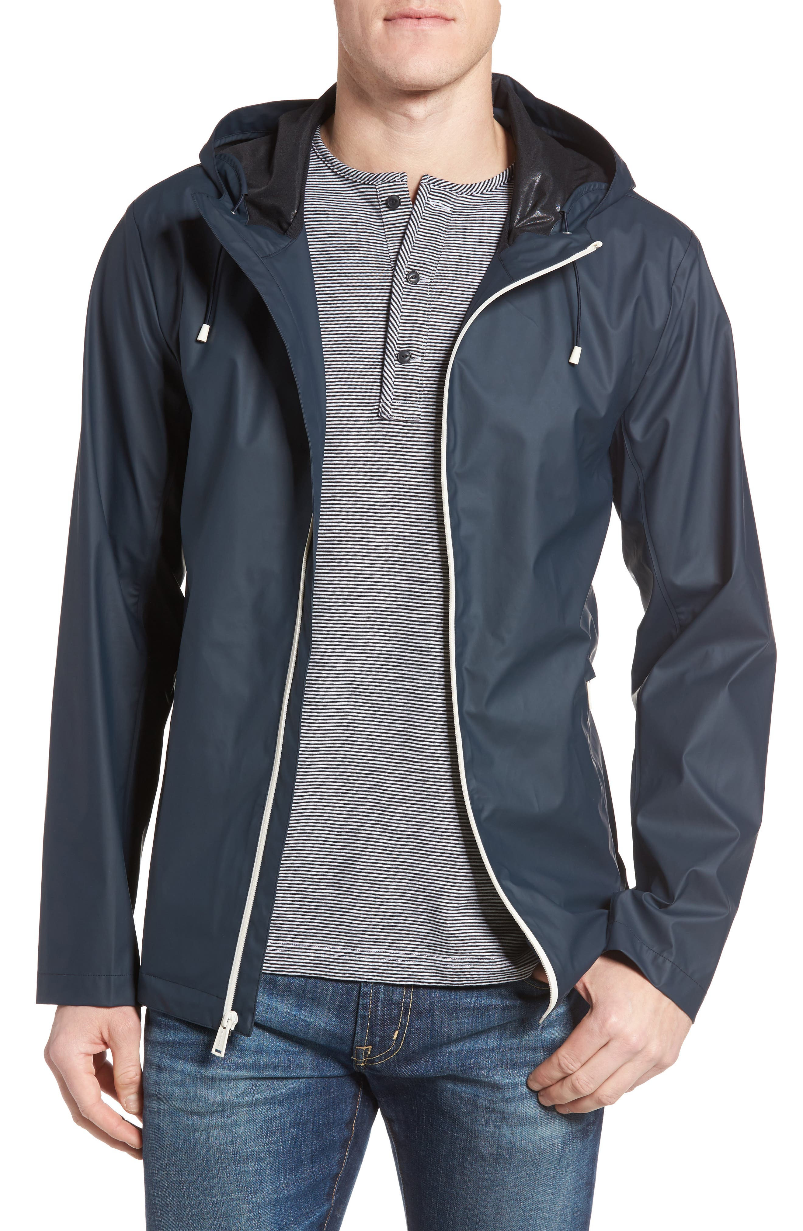 Rubberized Hooded Jacket,                         Main,                         color, Navy