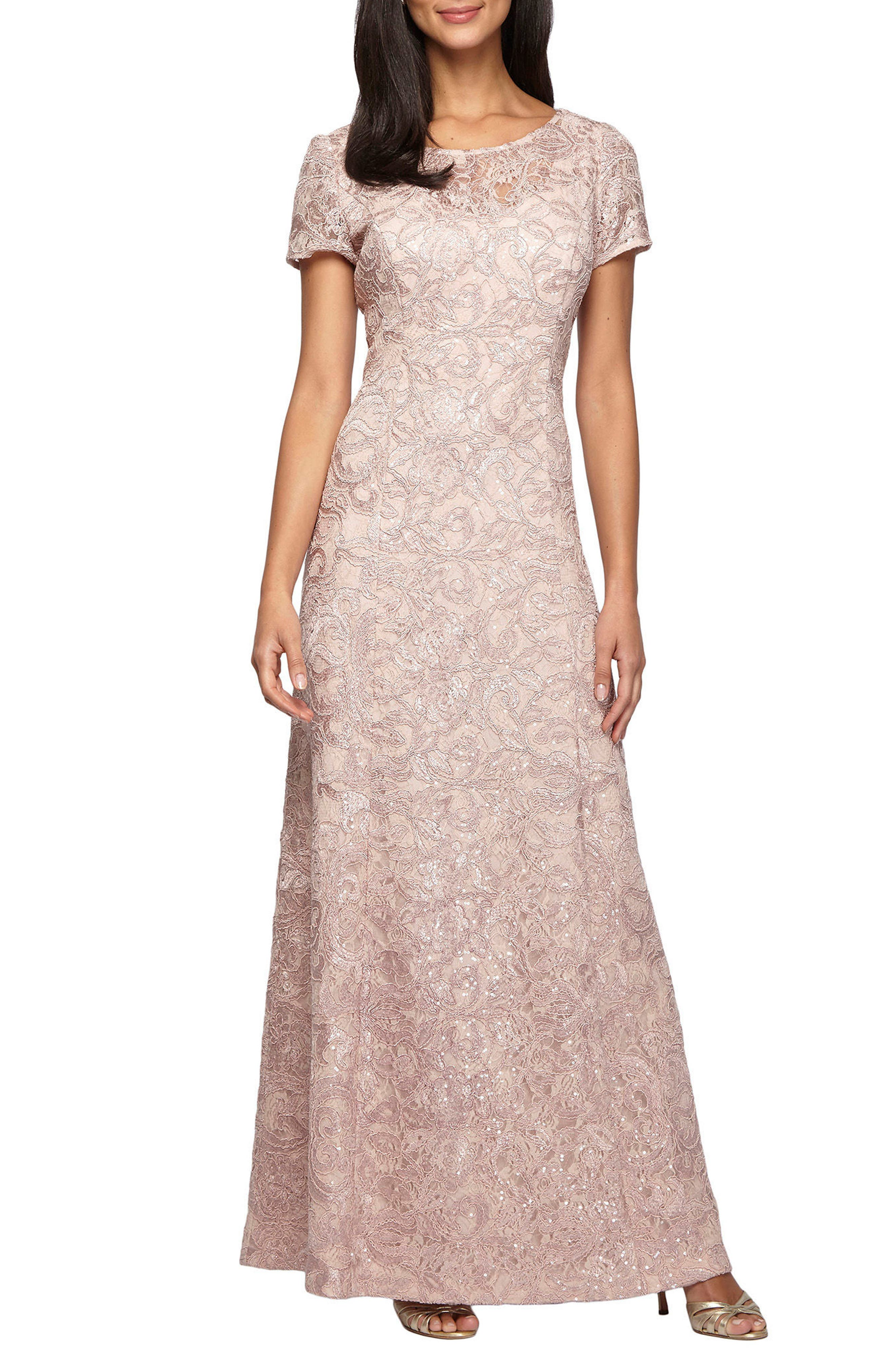 Main Image - Alex Evenings Lace A-Line Gown (Petite)