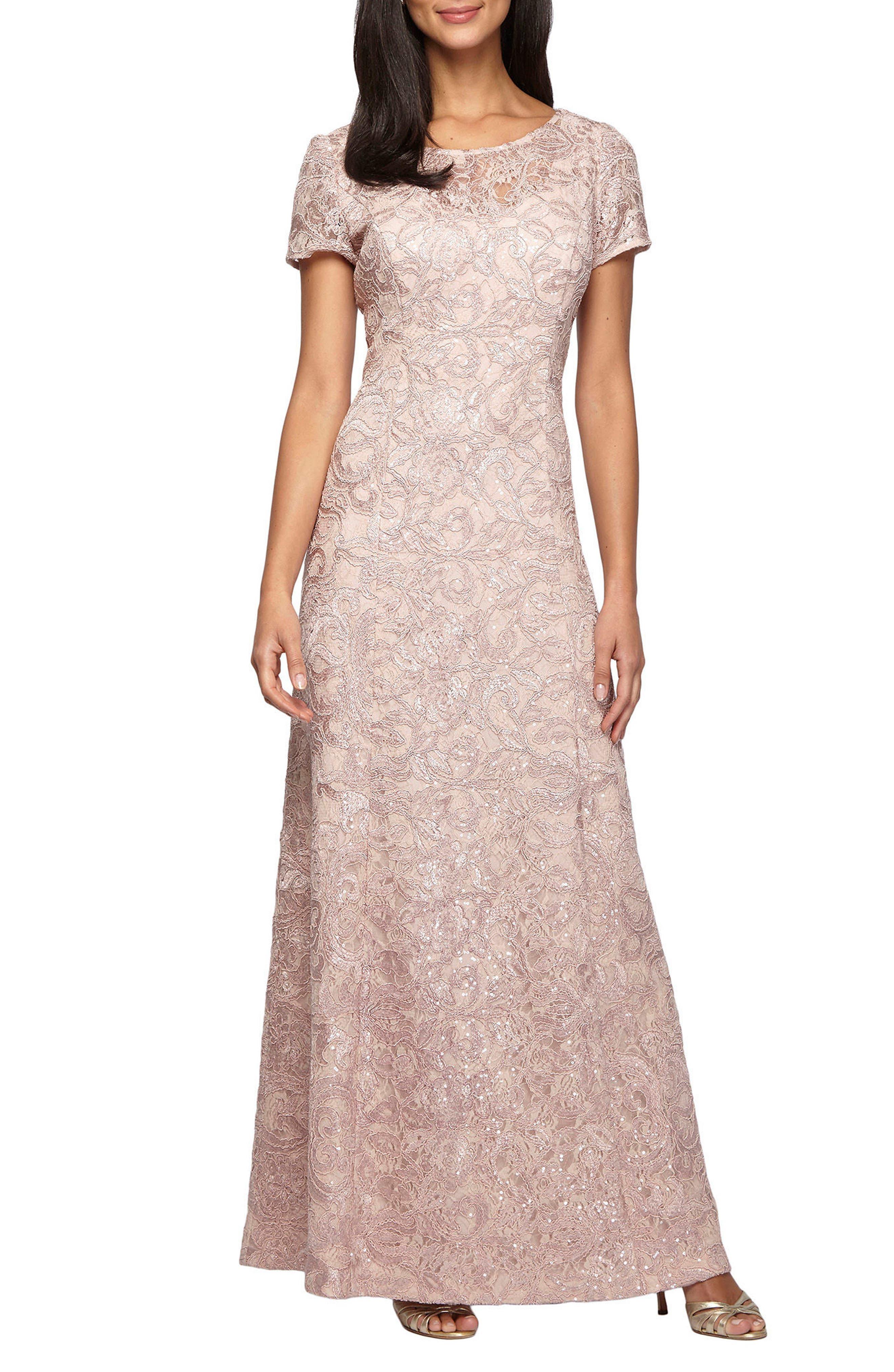 Alex Evenings Lace A-Line Gown (Petite)