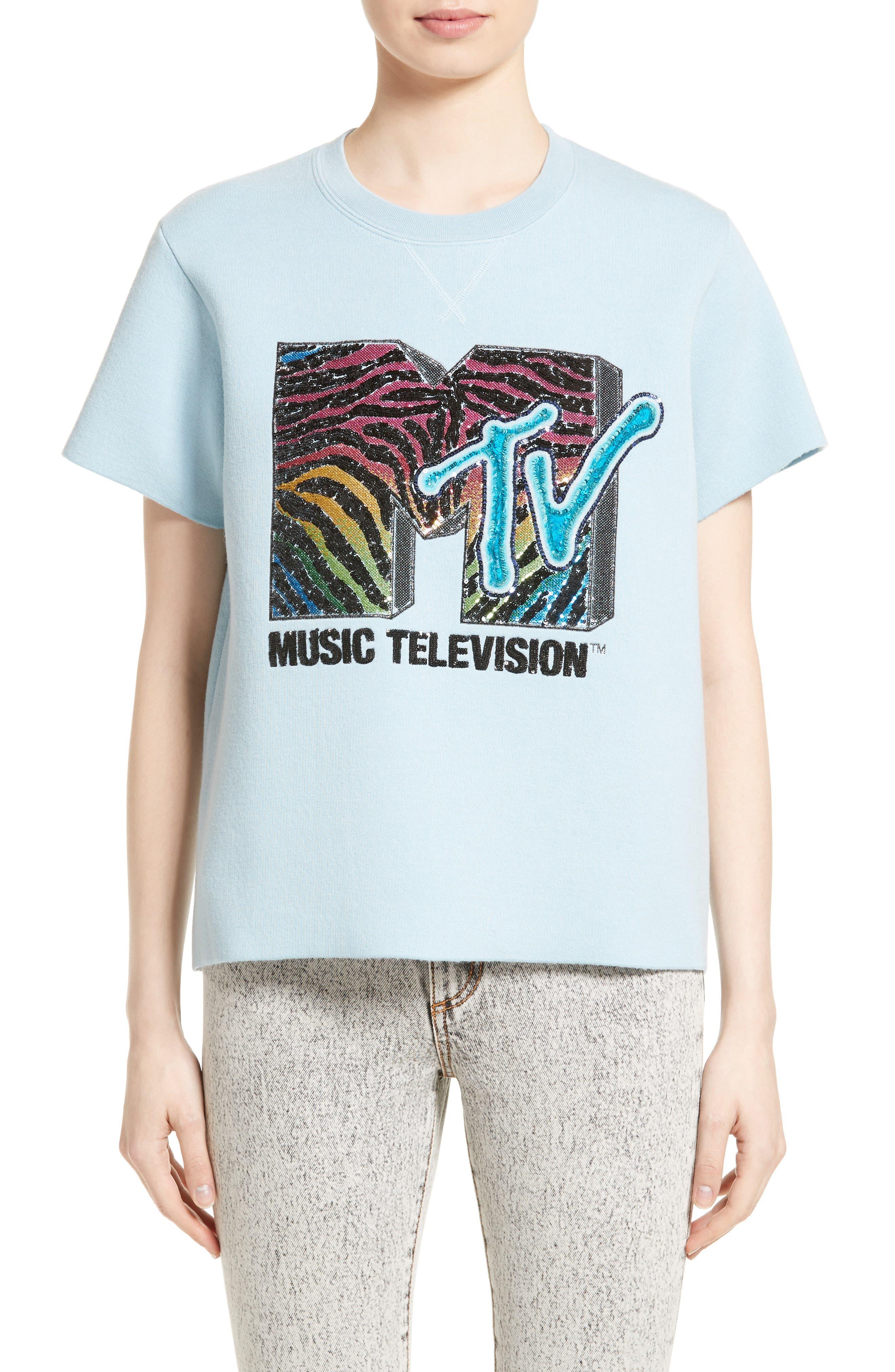 x MTV Logo Sweatshirt,                         Main,                         color, Powder Blue