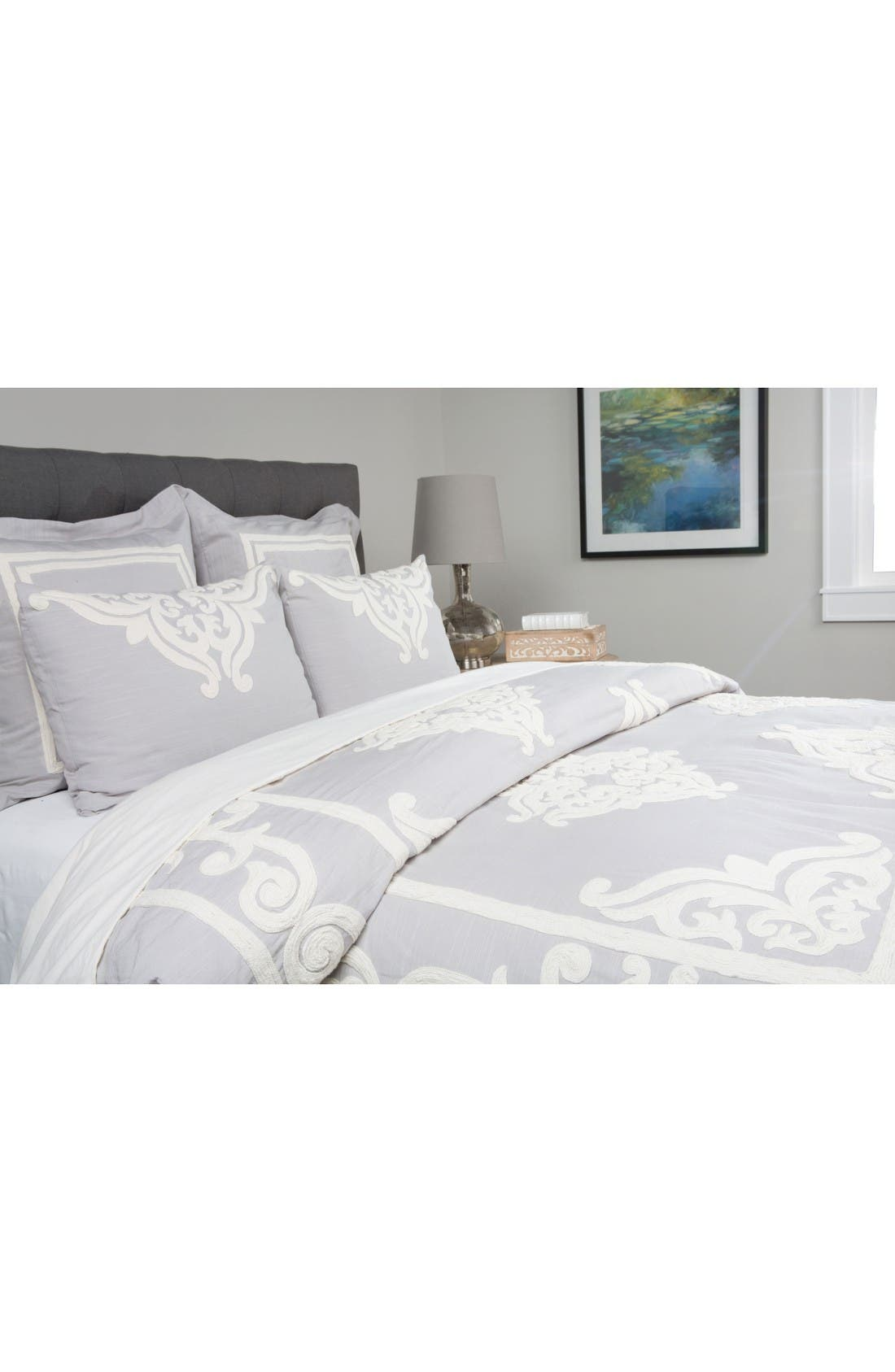 Patrina Embroidered Duvet Cover,                             Main thumbnail 1, color,                             Soft Grey/ Ivory
