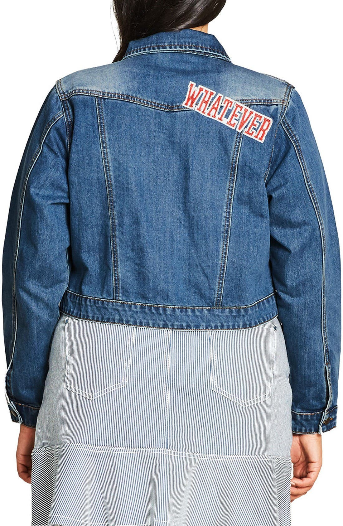 Alternate Image 2  - City Chic '80s Patch Denim Jacket (Plus Size)