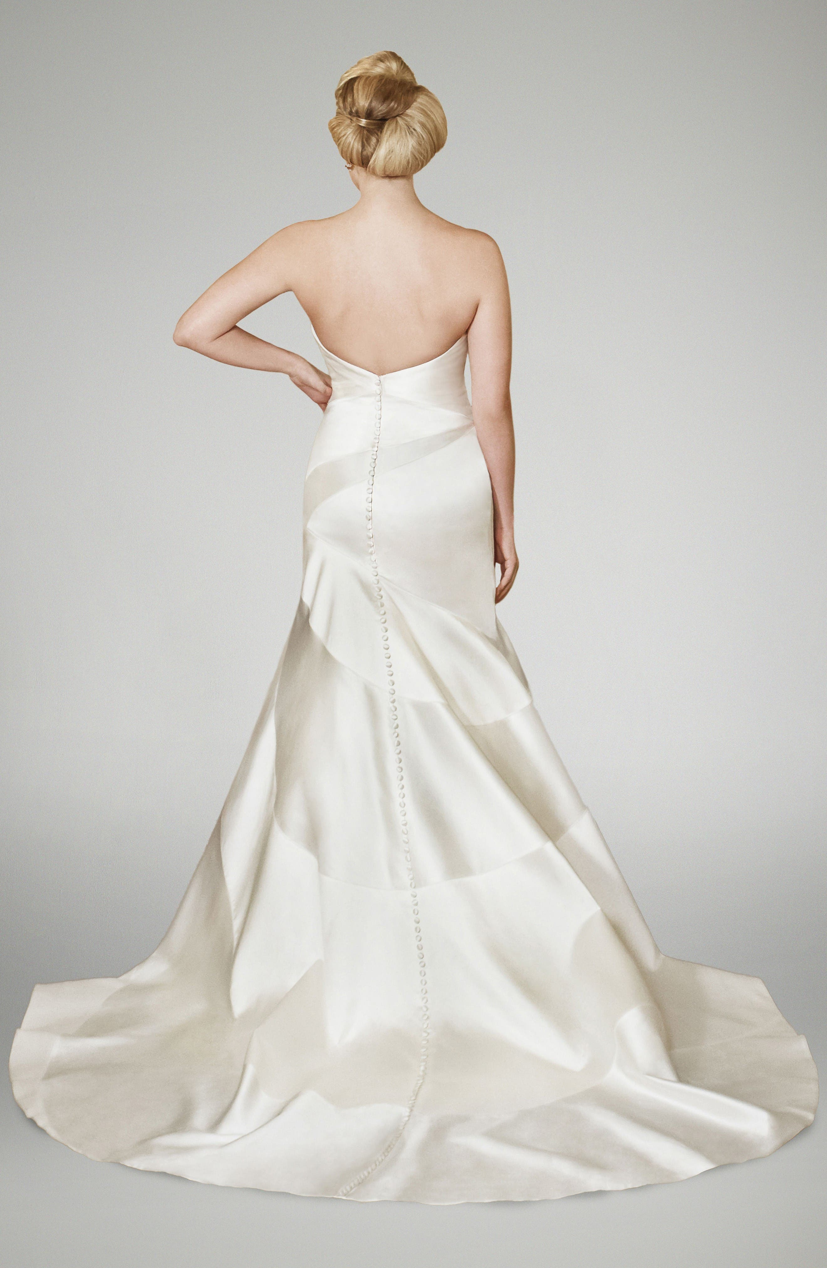 Alternate Image 2  - Matthew Christopher Blake Strapless Silk Trumpet Gown