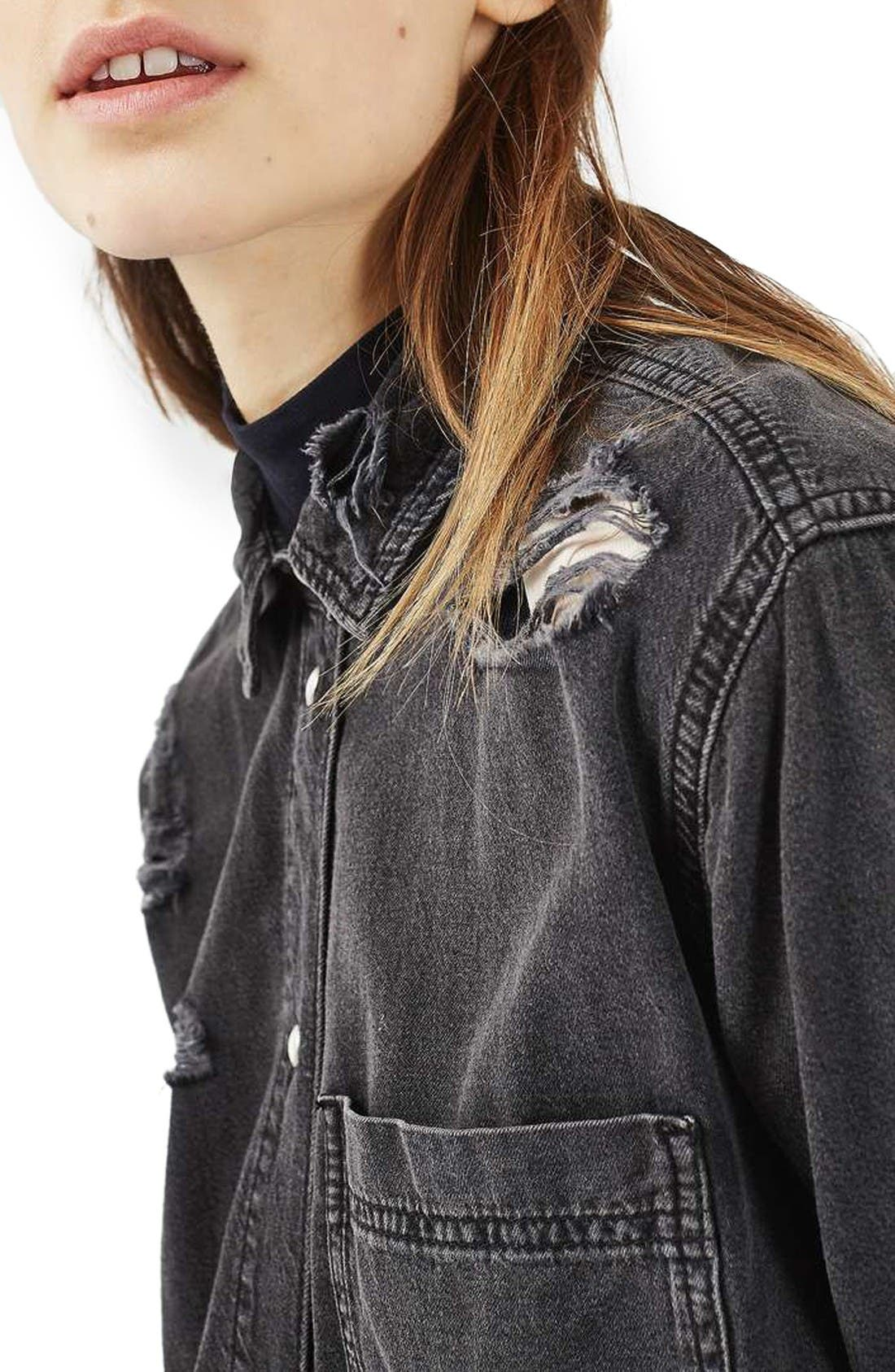 Alternate Image 5  - Topshop Elton Ripped Denim Shirt