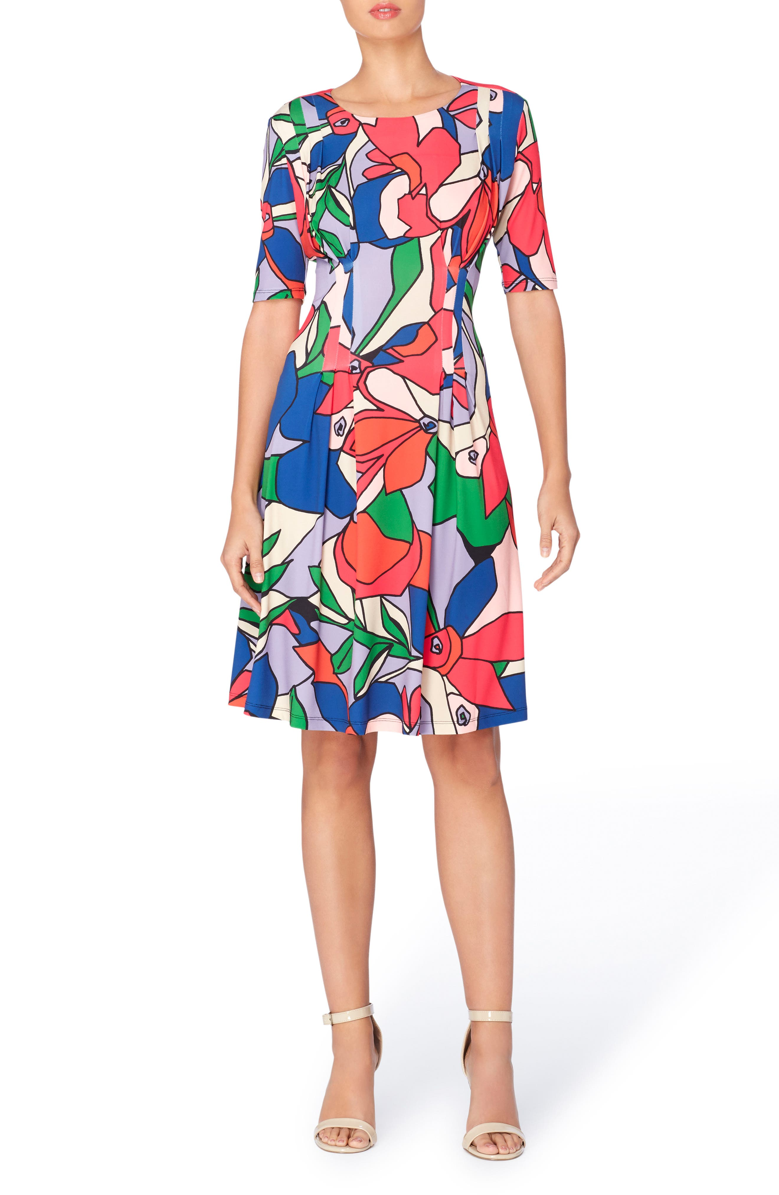 Main Image - Catherine Catherine Malandrino Jonni Pleat Jersey Fit & Flare Dress