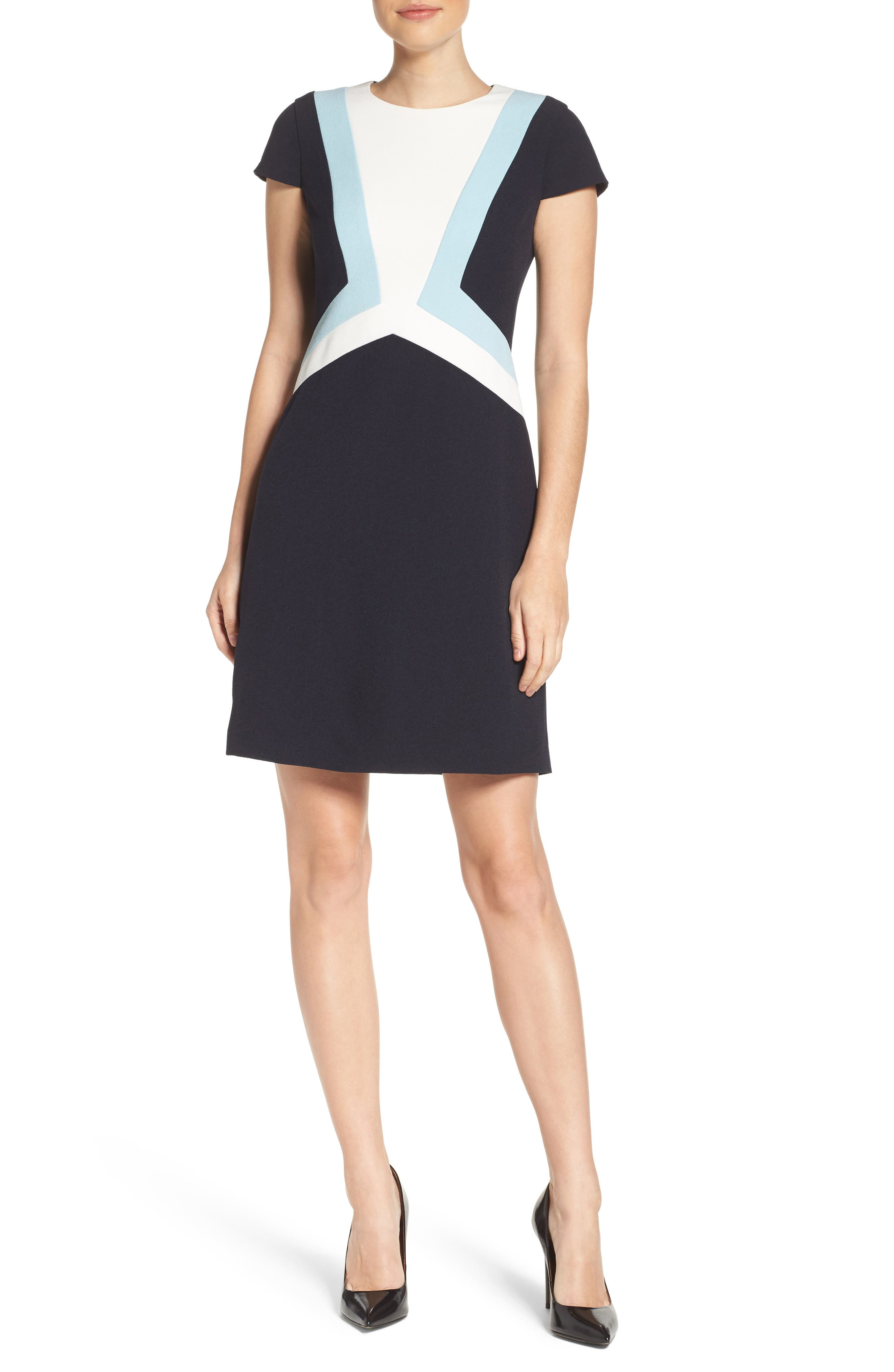 Alternate Image 4  - Vince Camuto Colorblock Shift Dress (Regular & Petite)