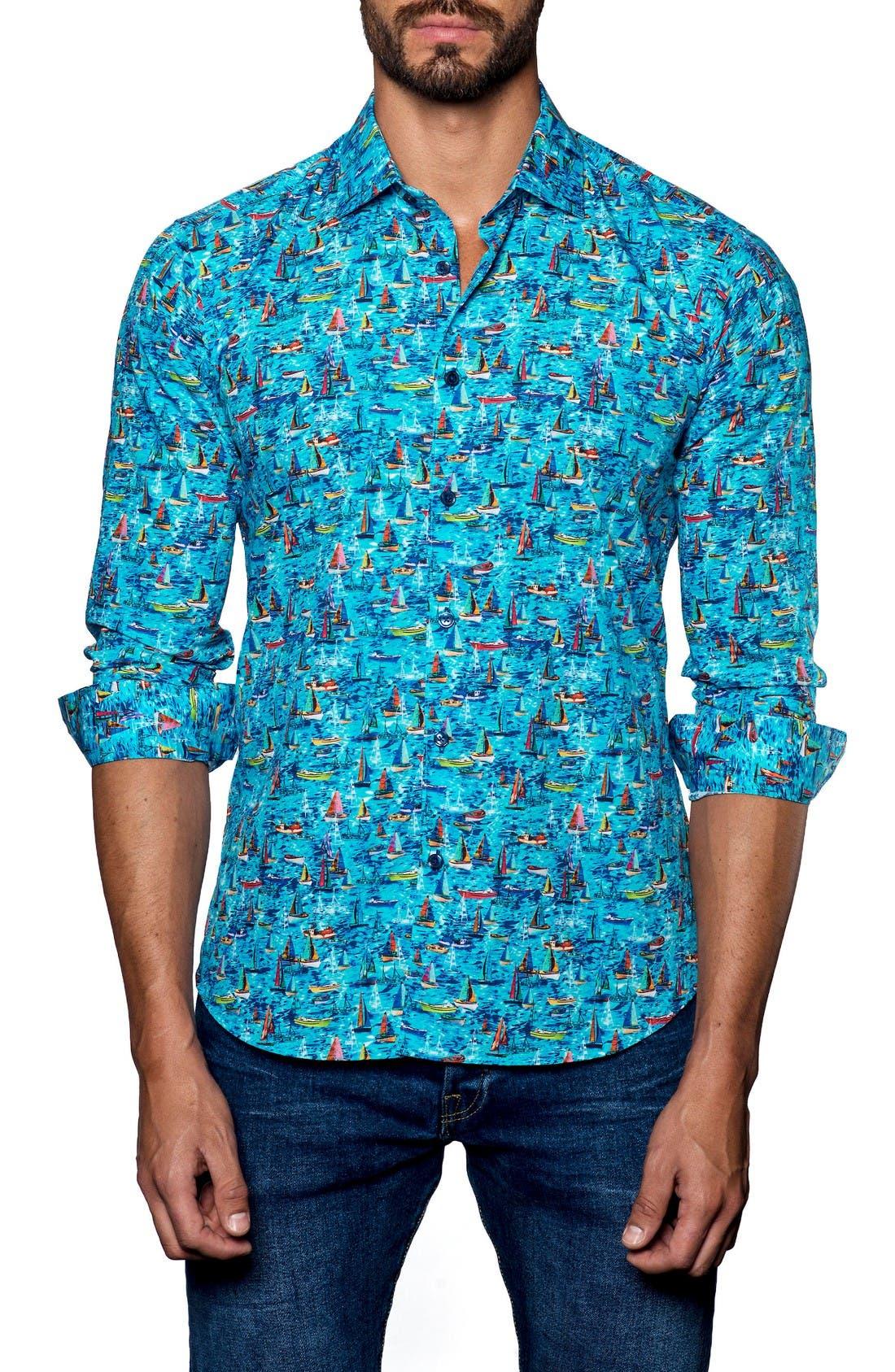 Trim Fit Print Sport Shirt,                         Main,                         color, Turquoise Sails