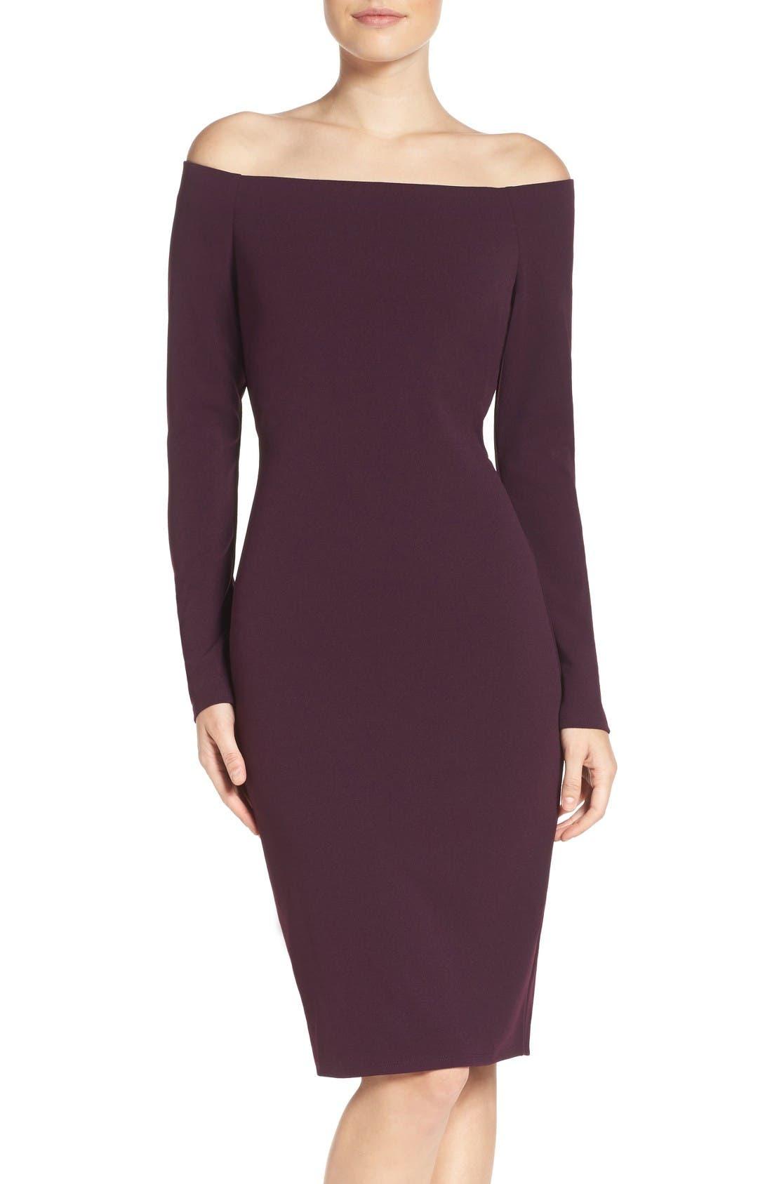 Main Image - Eliza J Off the Shoulder Scuba Sheath Dress (Regular & Petite)