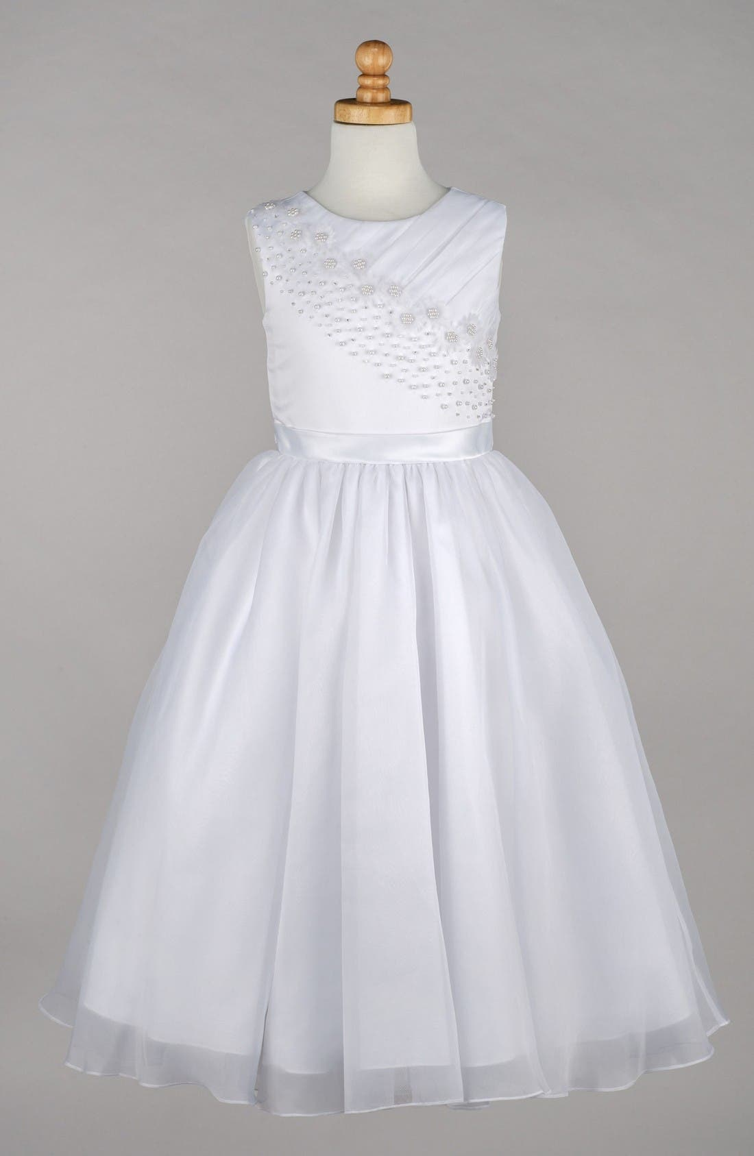 Beaded Daisy Bodice First Communion Dress,                         Main,                         color, White
