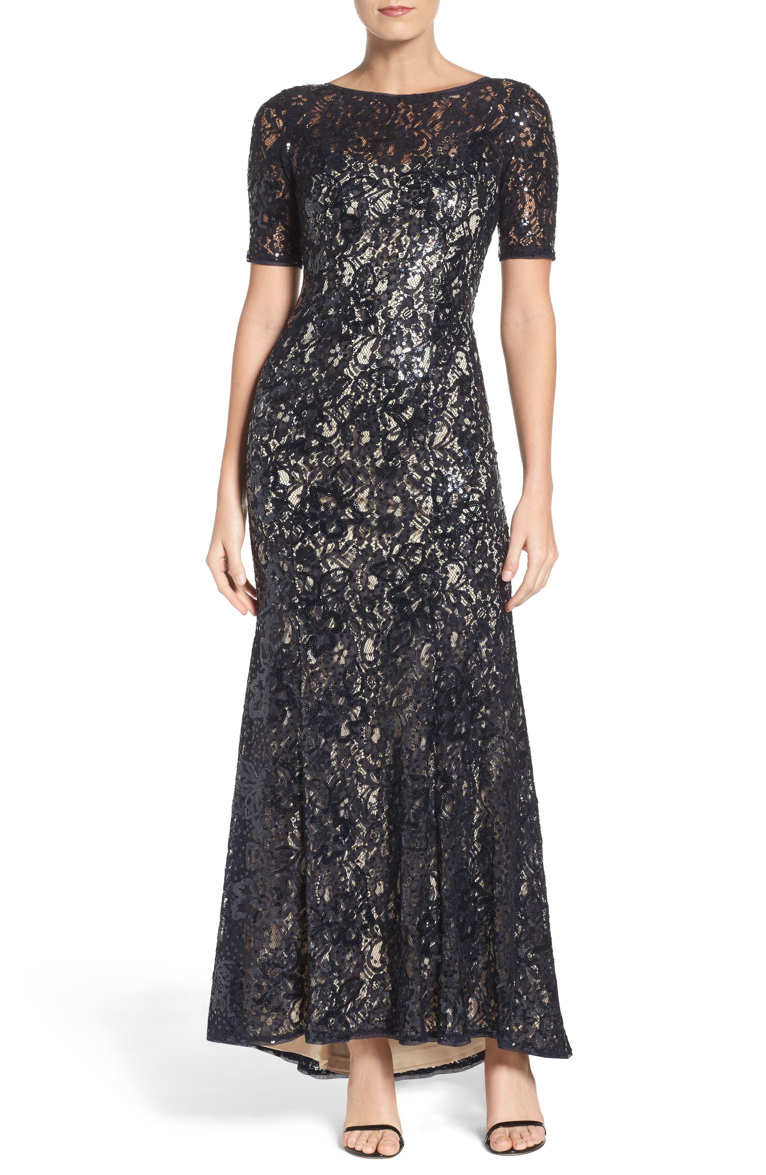 Sequin Lace Gown,                             Main thumbnail 1, color,                             Midnight/ Nude