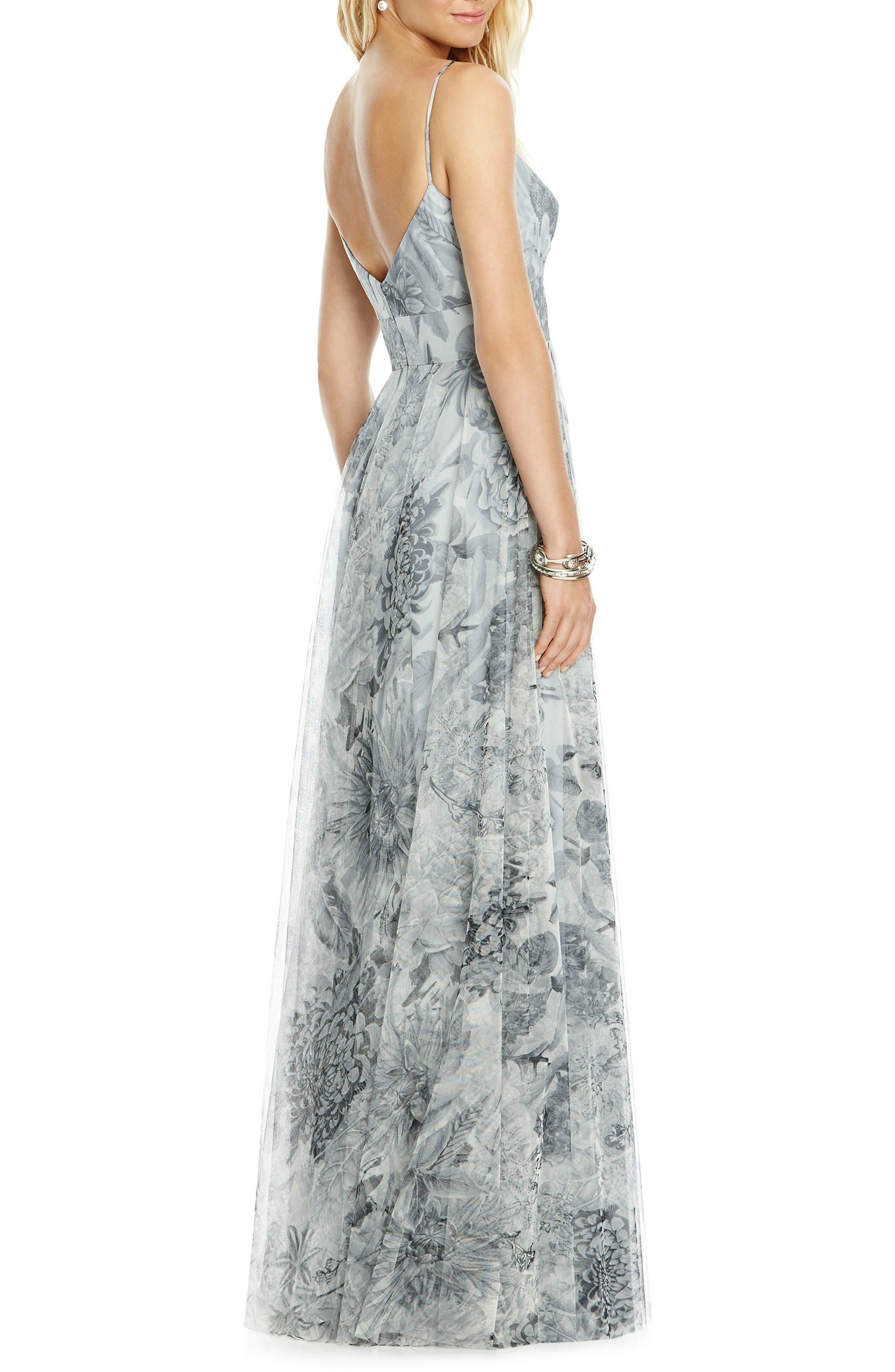 Tulle Column Gown,                             Alternate thumbnail 2, color,                             Platinum Romance