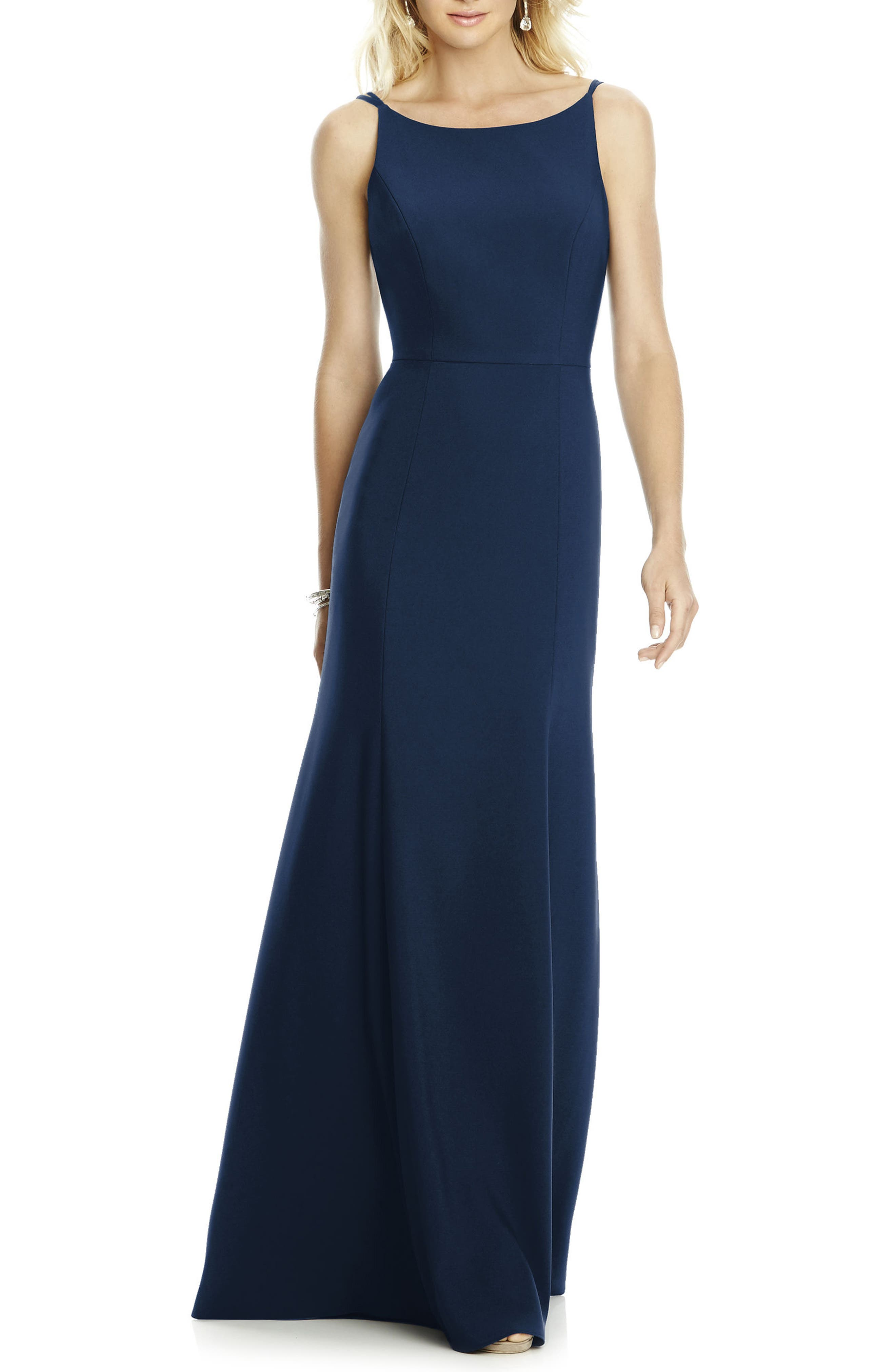 Bateau Neck Crepe Gown,                         Main,                         color, Midnight