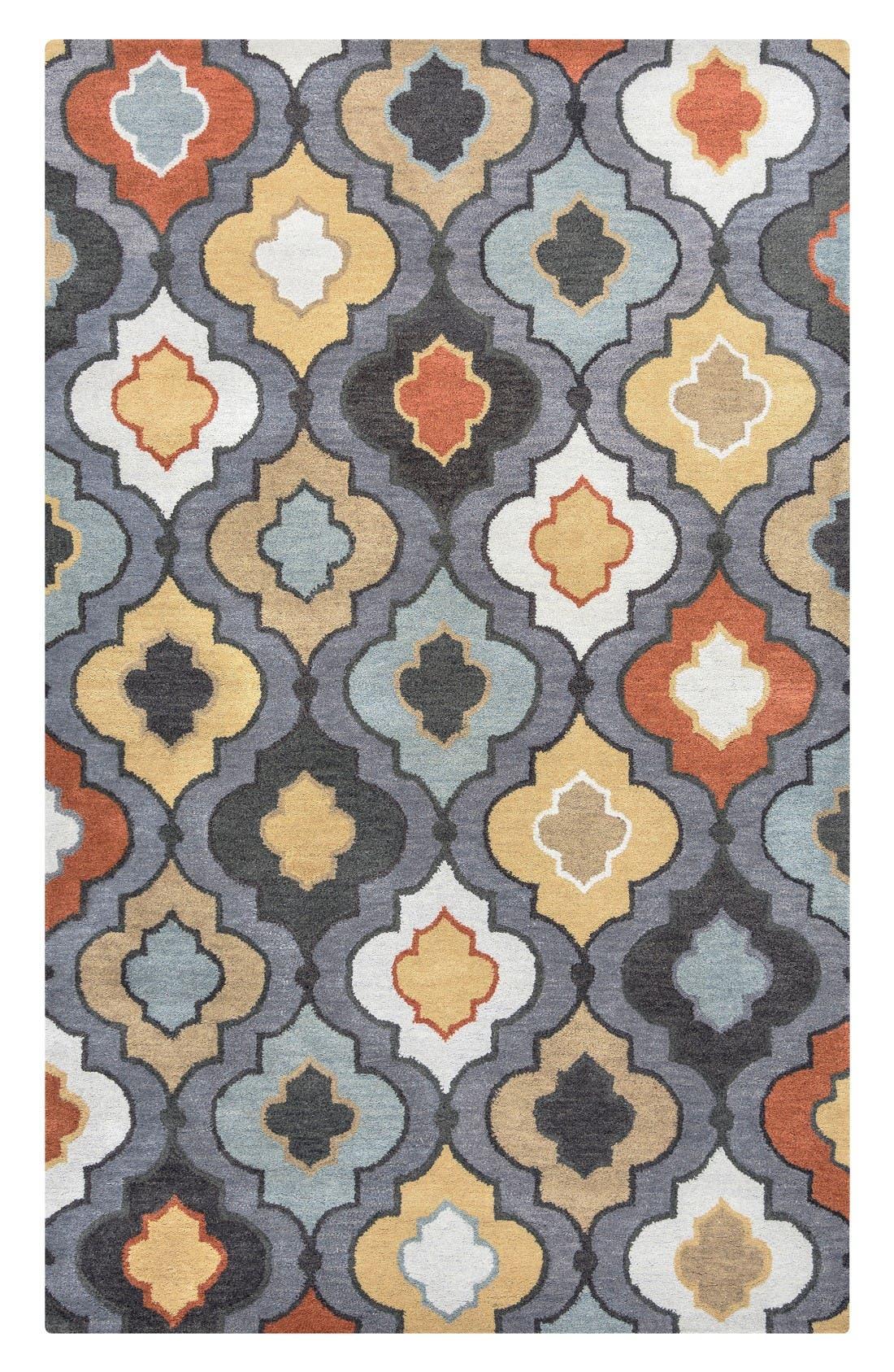 'Quatrefoil' Hand Tufted Wool Area Rug,                         Main,                         color, Grey/ Orange/ Gold