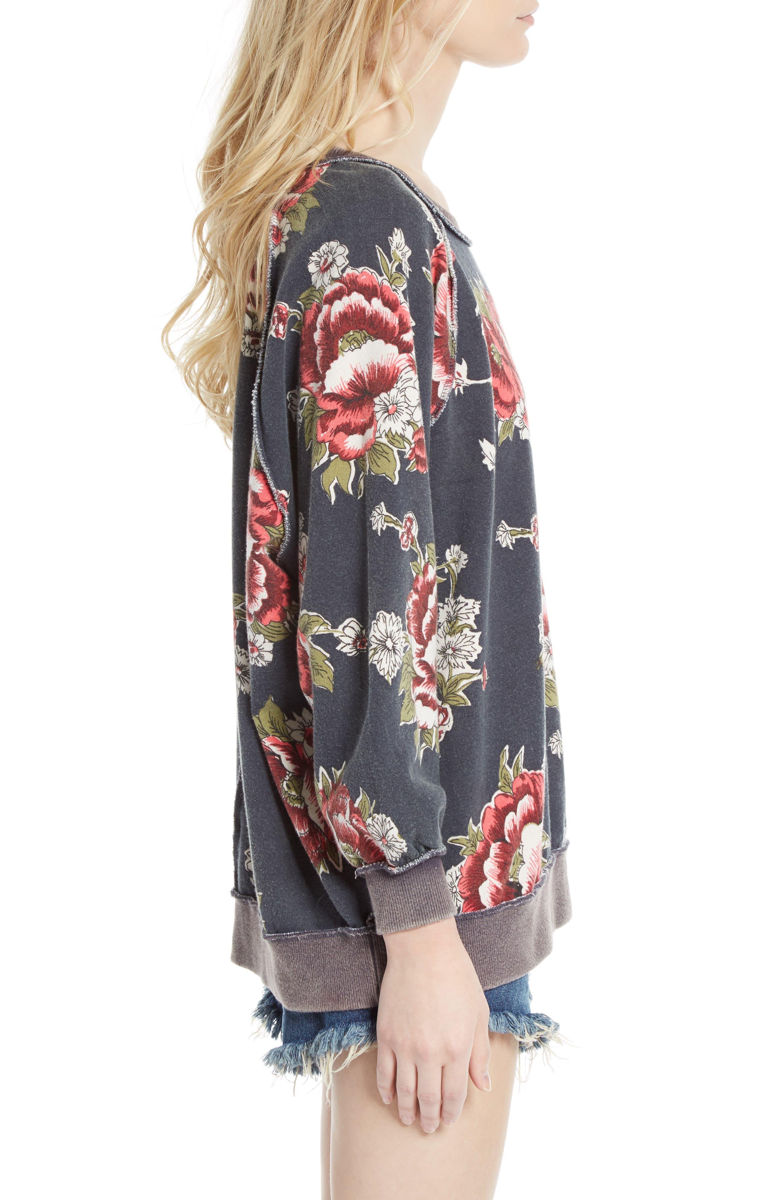Go on Get Floral Sweatshirt,                             Alternate thumbnail 3, color,                             Black