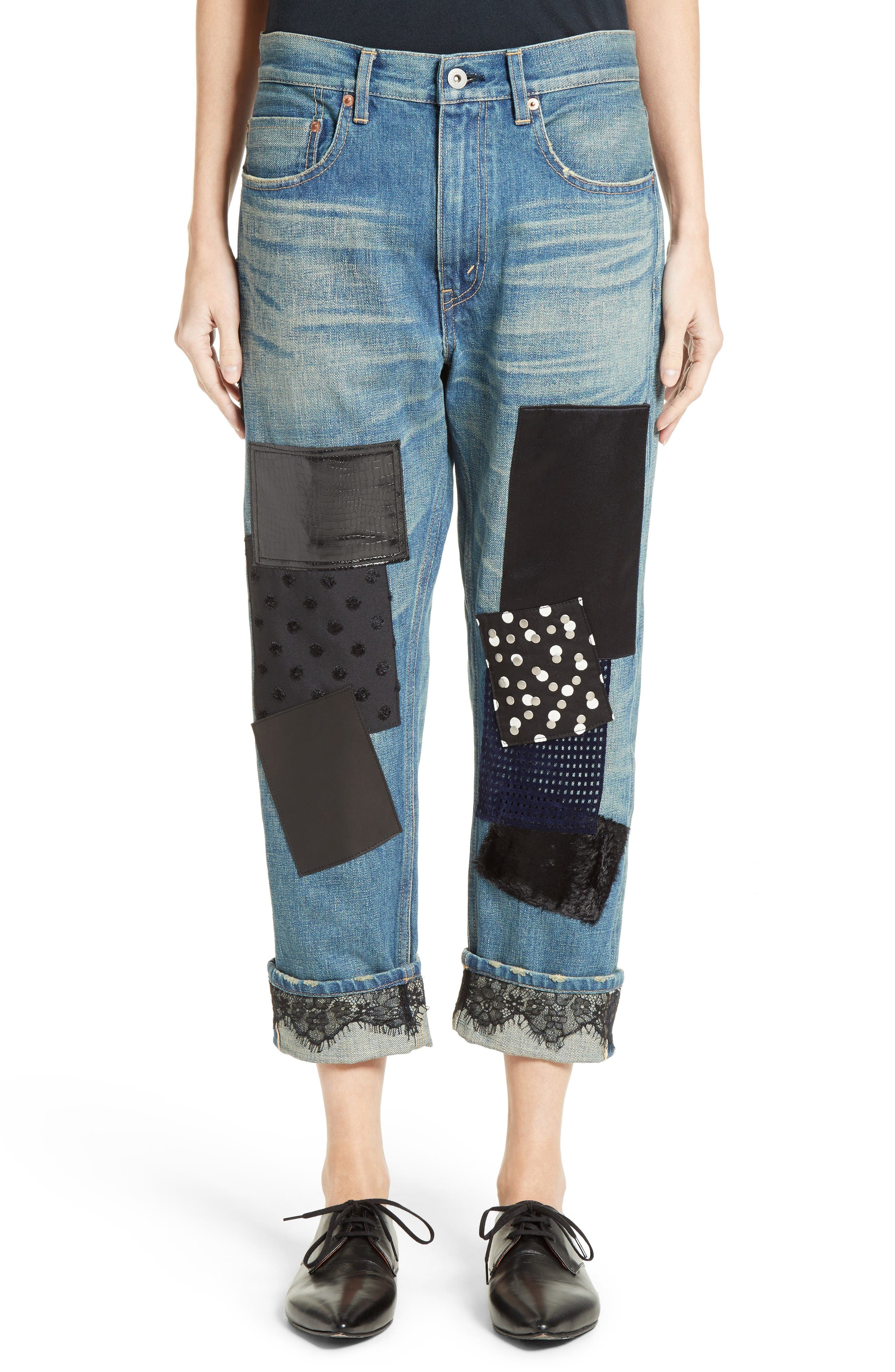 Patchwork Boyfriend Jeans,                             Main thumbnail 1, color,                             Indigo Black