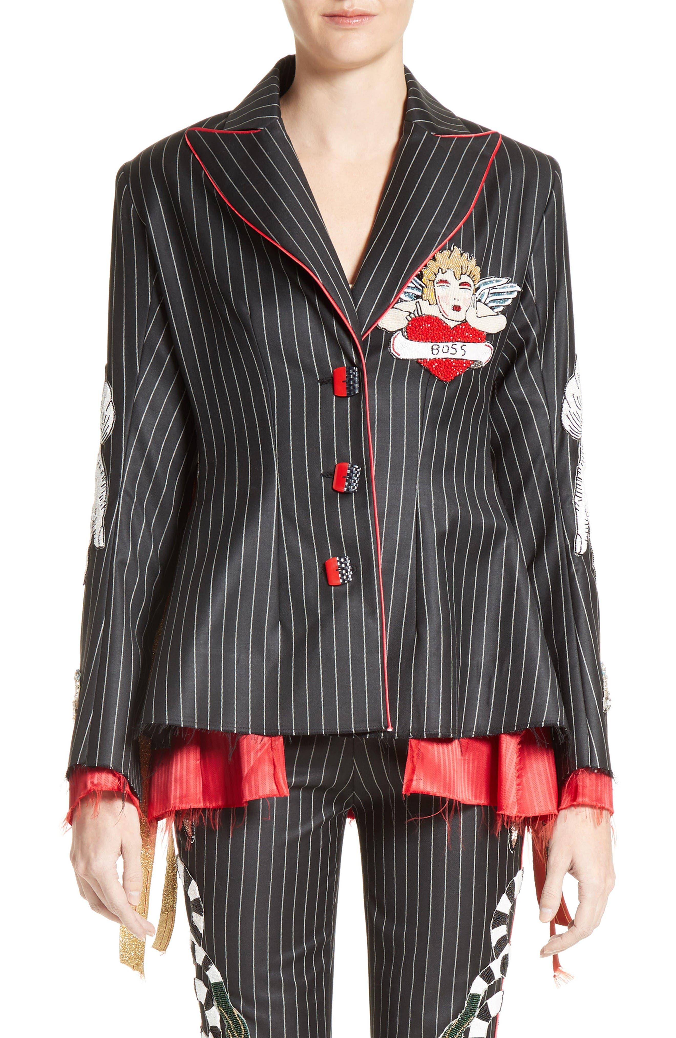 Main Image - Dilara Findikoglu Embellished Pinstripe Suit Jacket