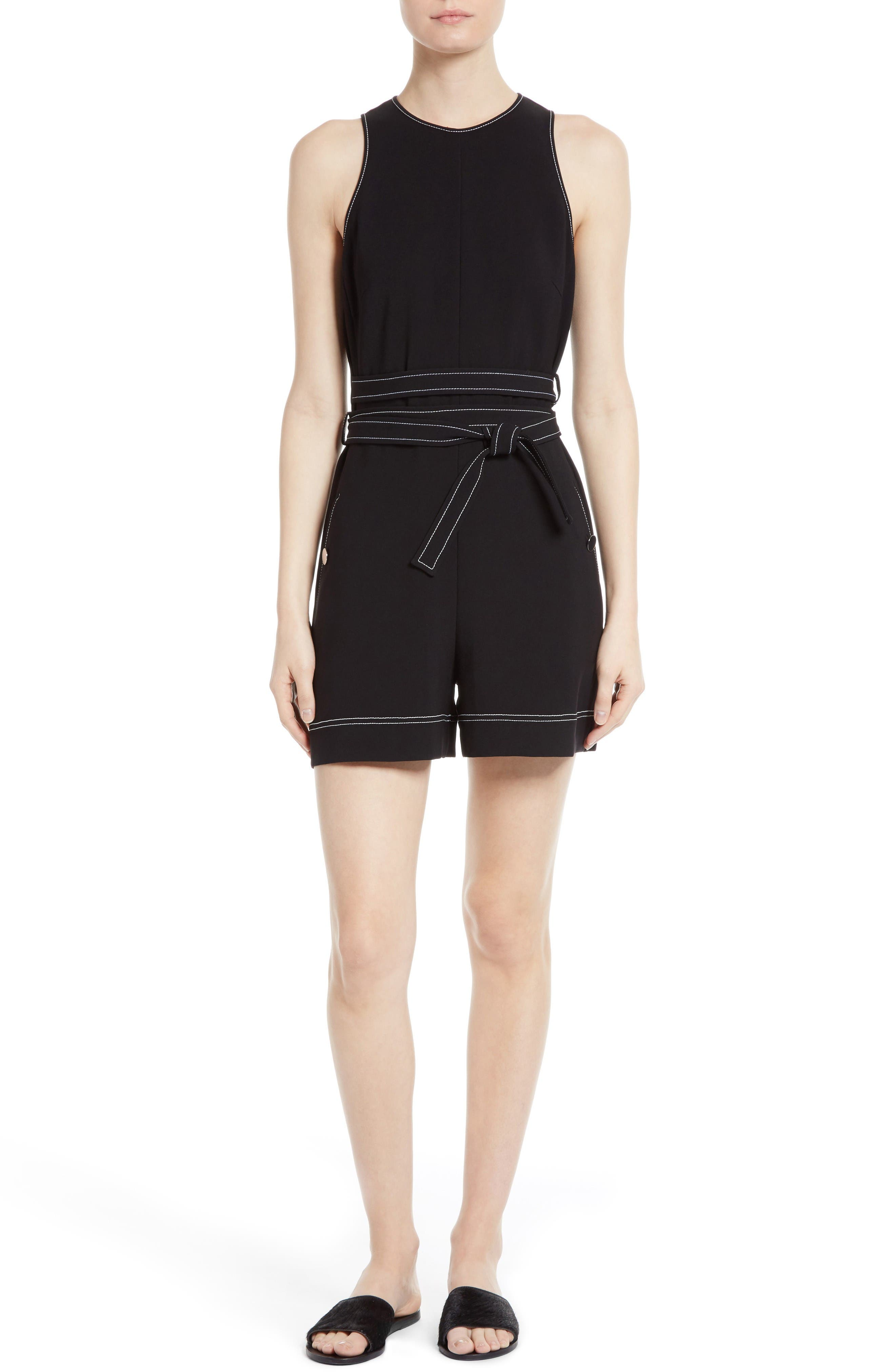 Alternate Image 1 Selected - GREY Jason Wu Topstitched Double Tie Romper