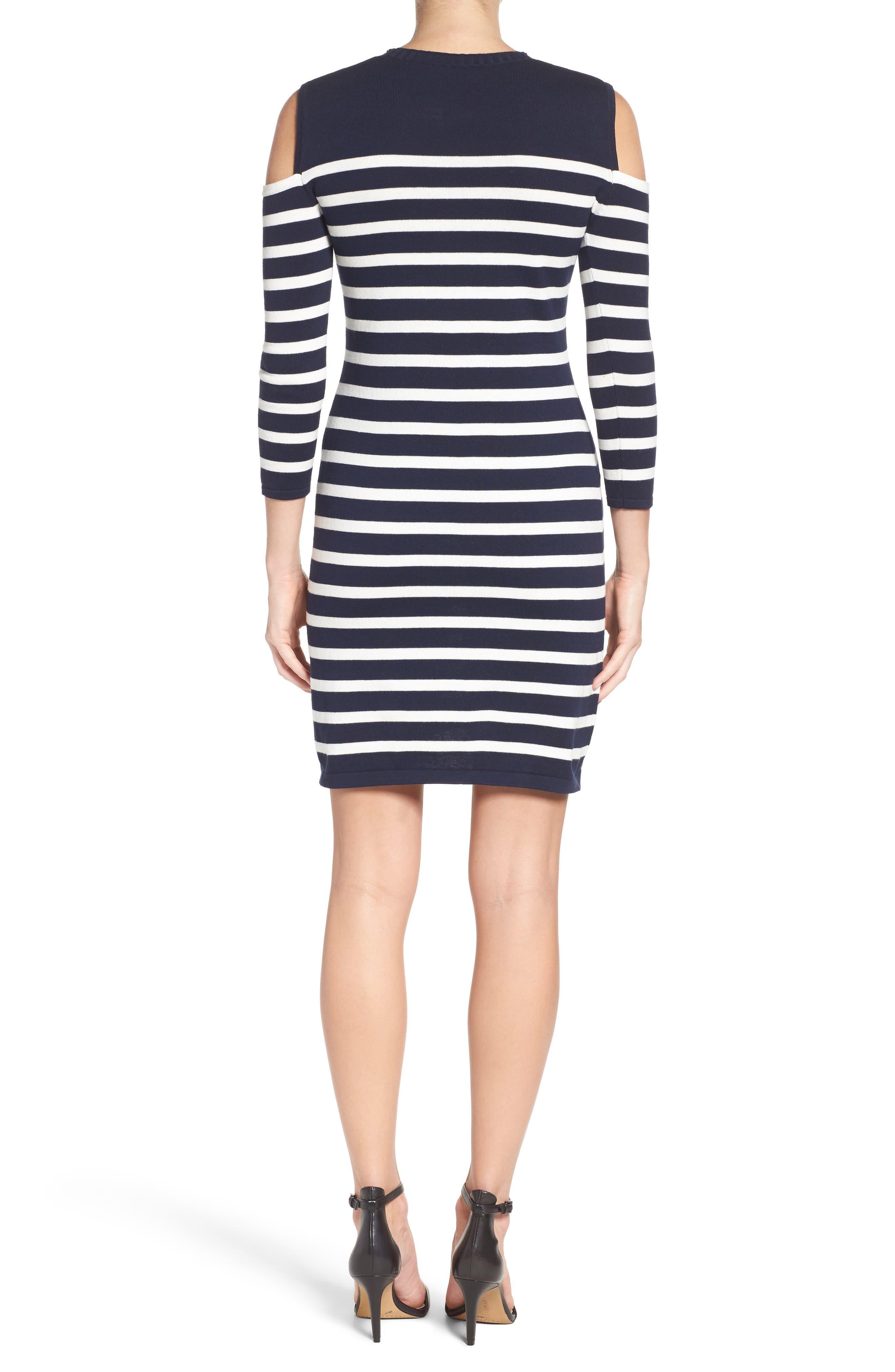 Trina Turk Tango Stripe Cotton Knit Dress,                             Alternate thumbnail 2, color,                             Whitewash/ Indigo