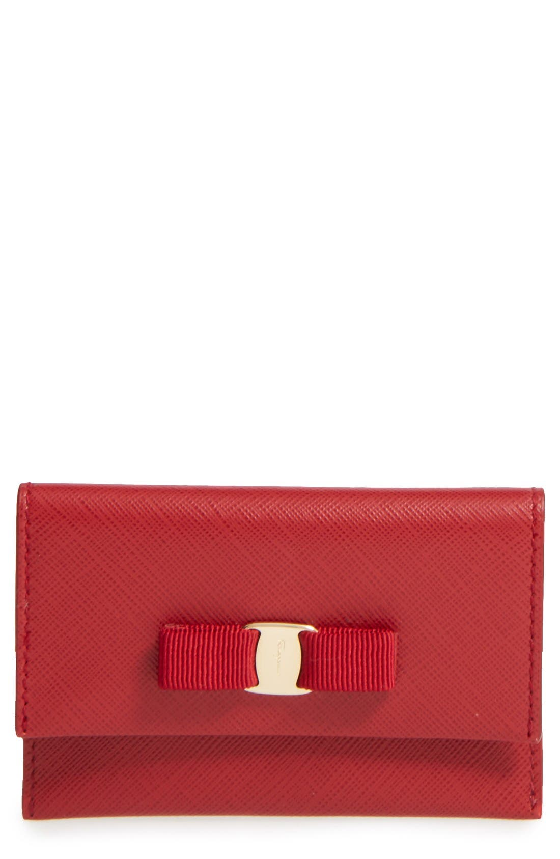 Vara Leather Card Case,                             Main thumbnail 1, color,                             Rosso