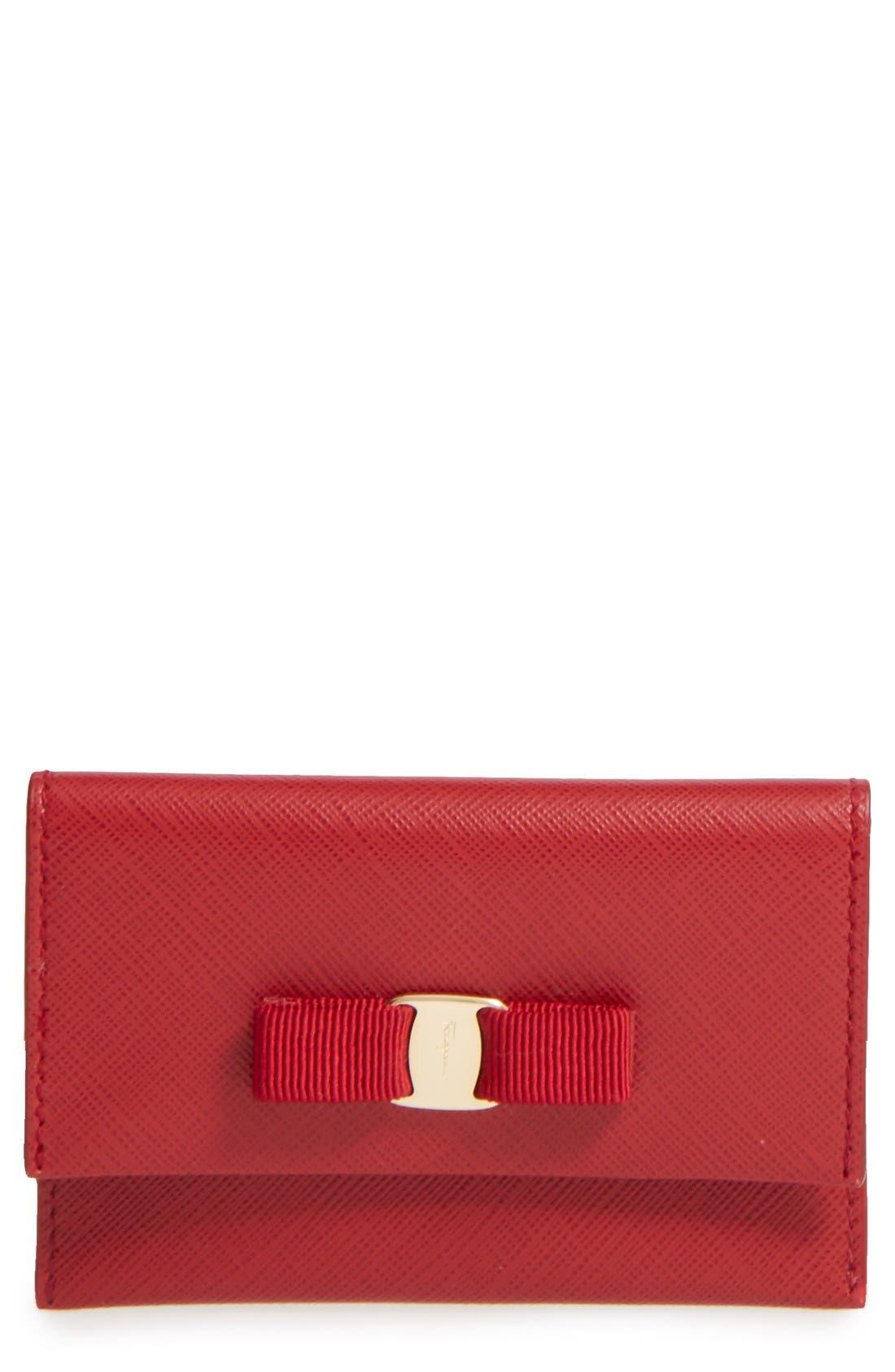 Main Image - Salvatore Ferragamo Vara Leather Card Case