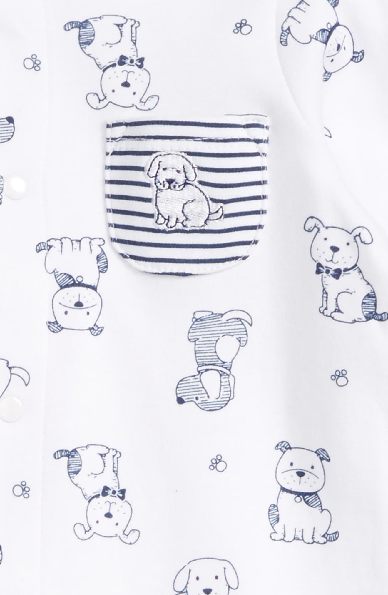 Puppy Toile Footie & Beanie Set,                             Alternate thumbnail 2, color,                             White/ Navy