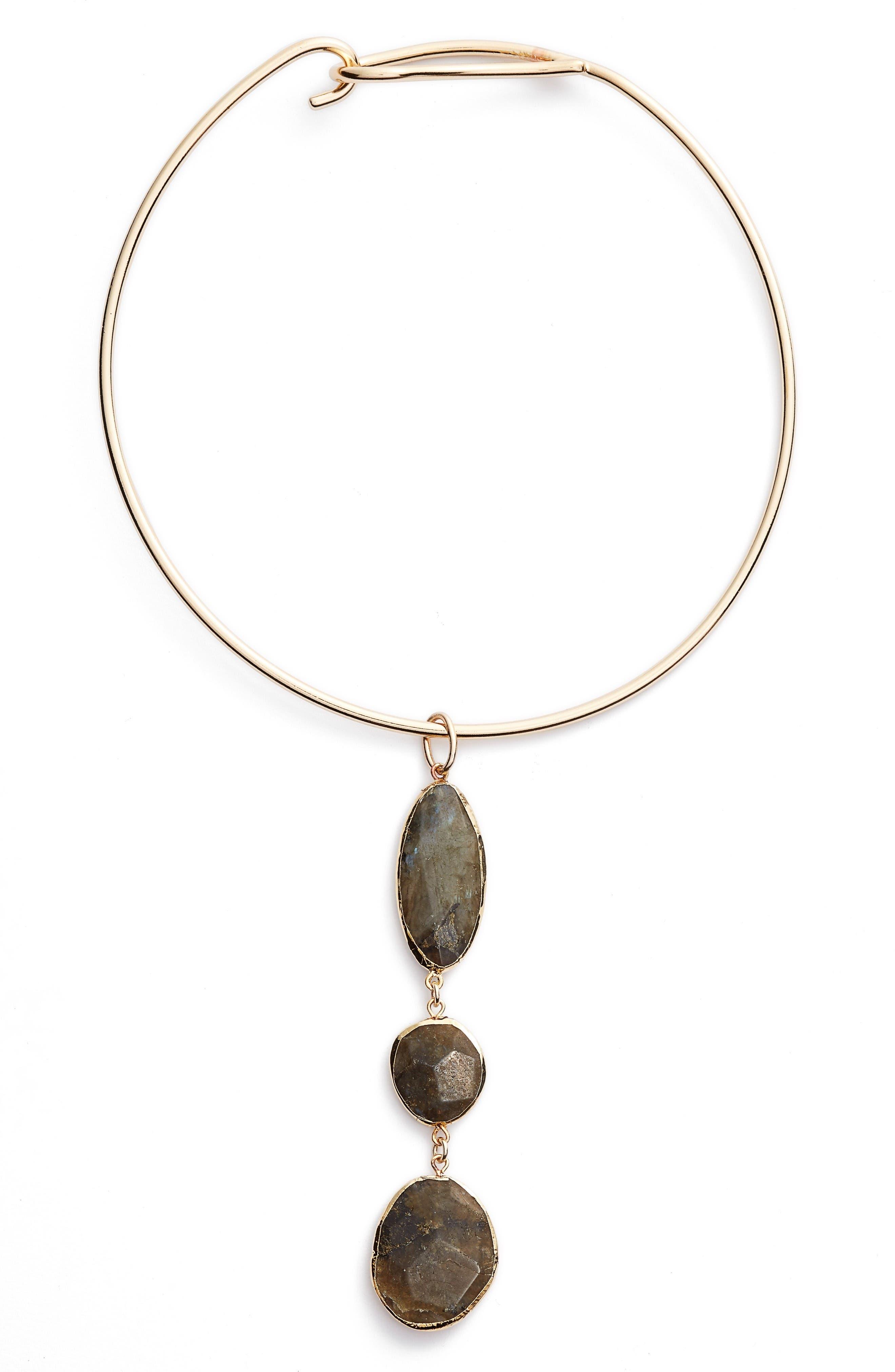 Triple Stone Collar Necklace,                         Main,                         color, Labradorite- Gold
