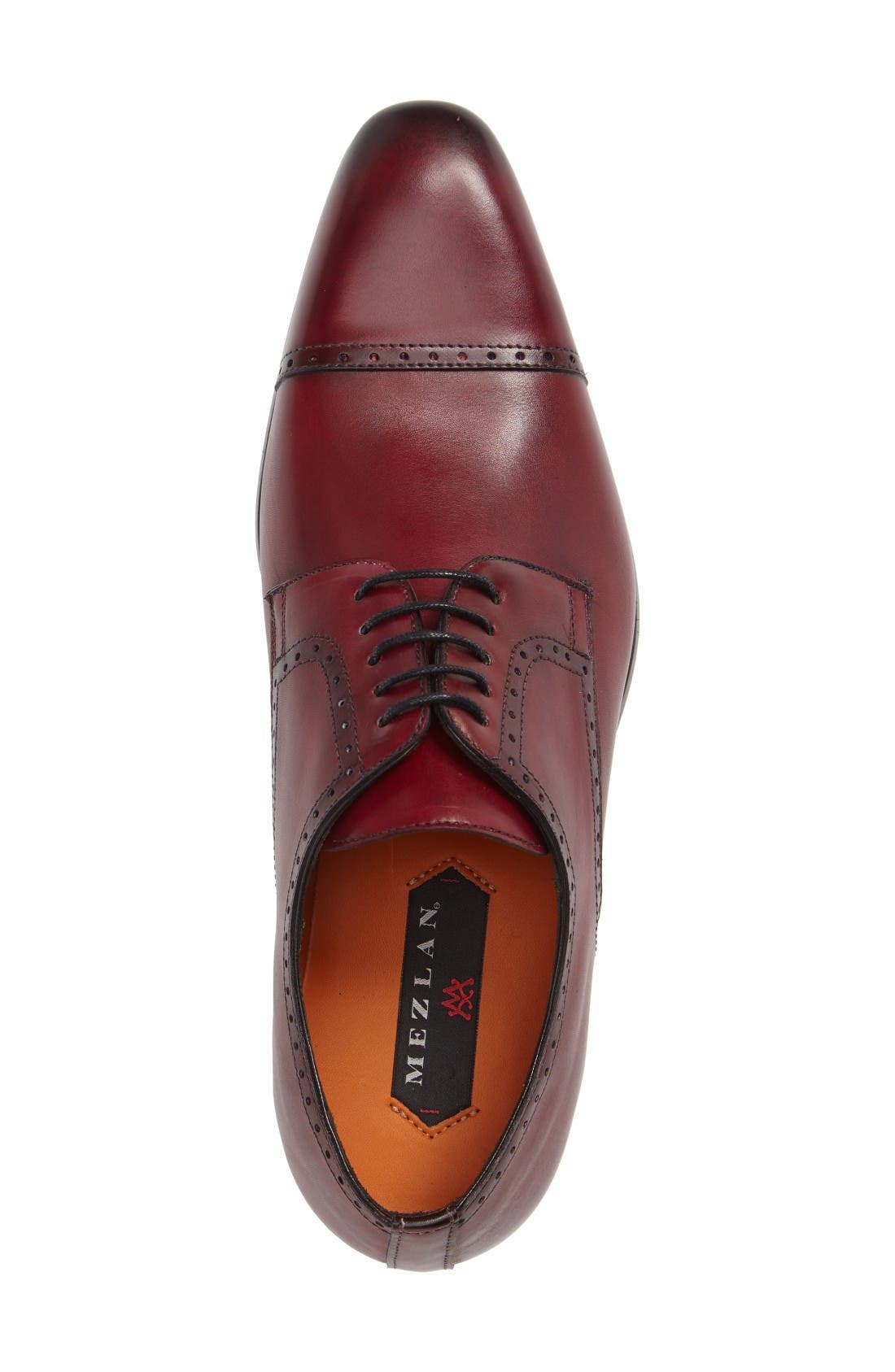 Boas Cap Toe Oxford,                             Alternate thumbnail 3, color,                             Burgundy Leather