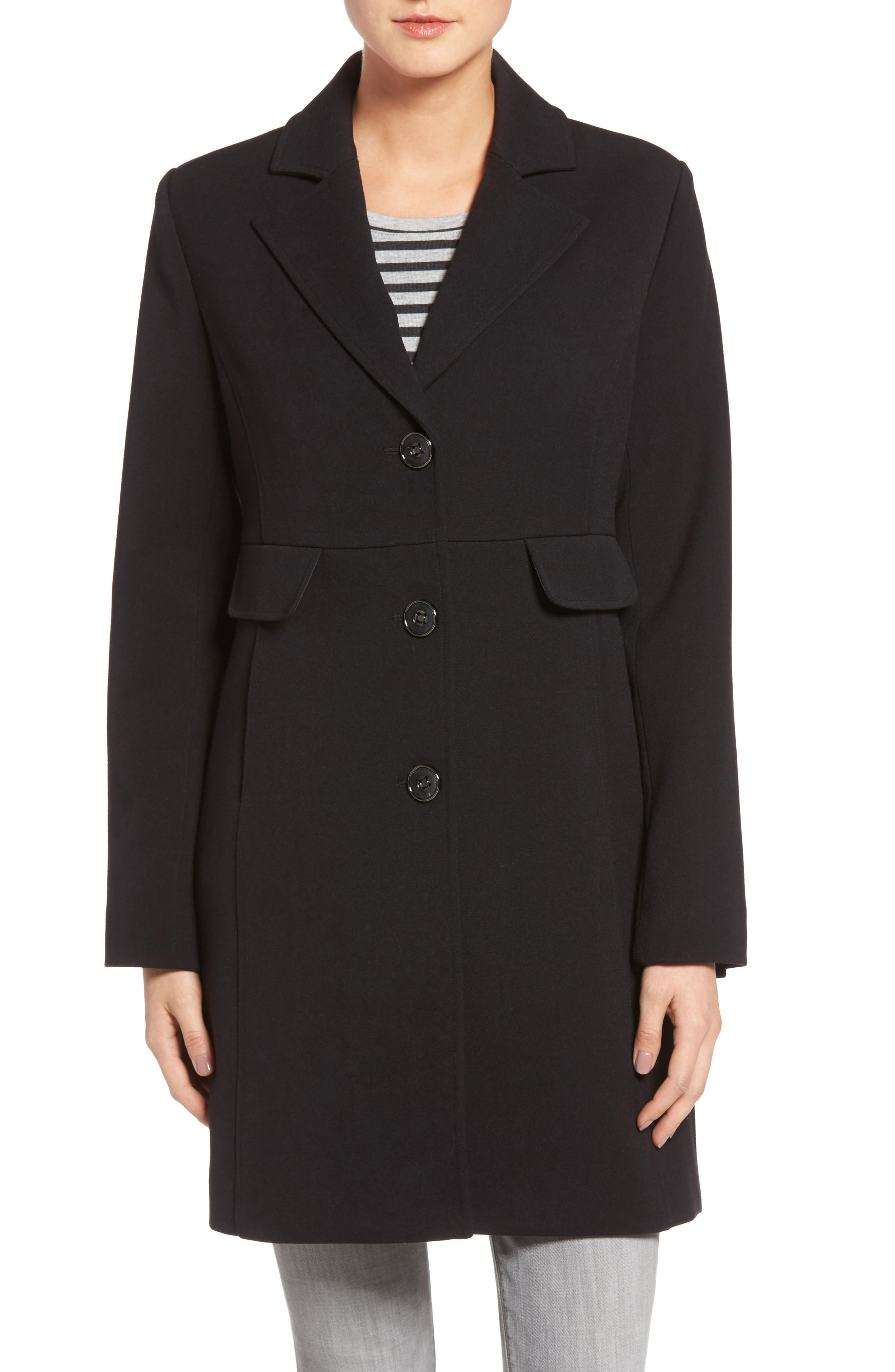 Alternate Image 1 Selected - Kenneth Cole A-Line Ponte Coat (Regular & Petite)
