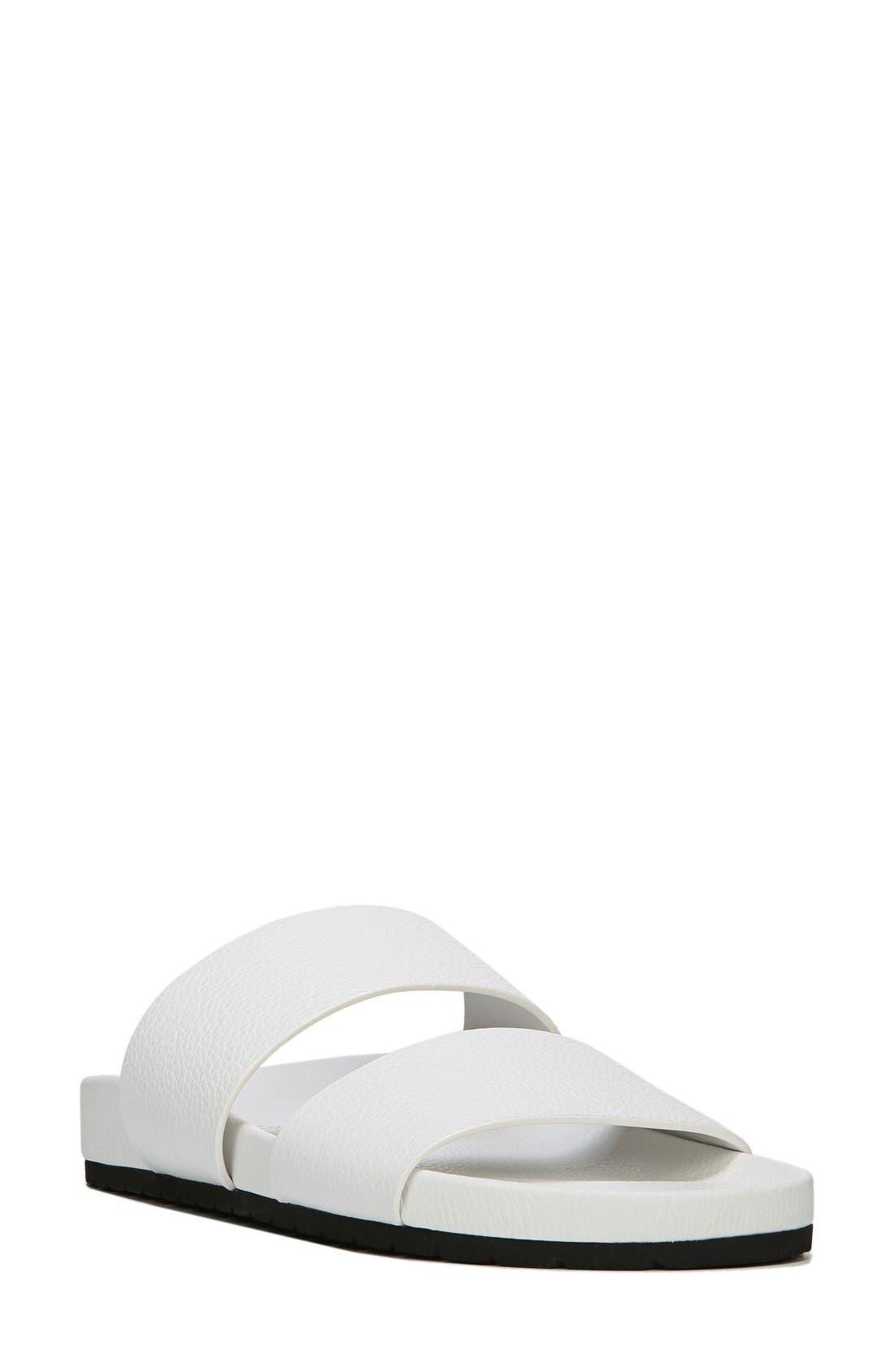 Georgie Slide Sandal,                             Main thumbnail 1, color,                             White