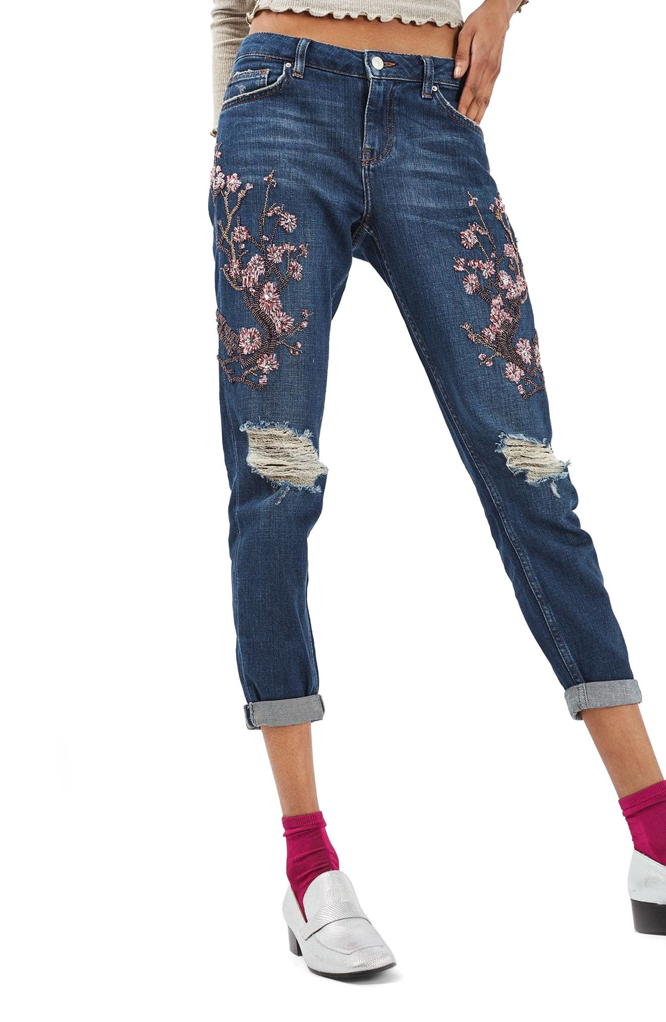 Main Image - Topshop Lucas Beaded Boyfriend Jeans (Limited Edition)