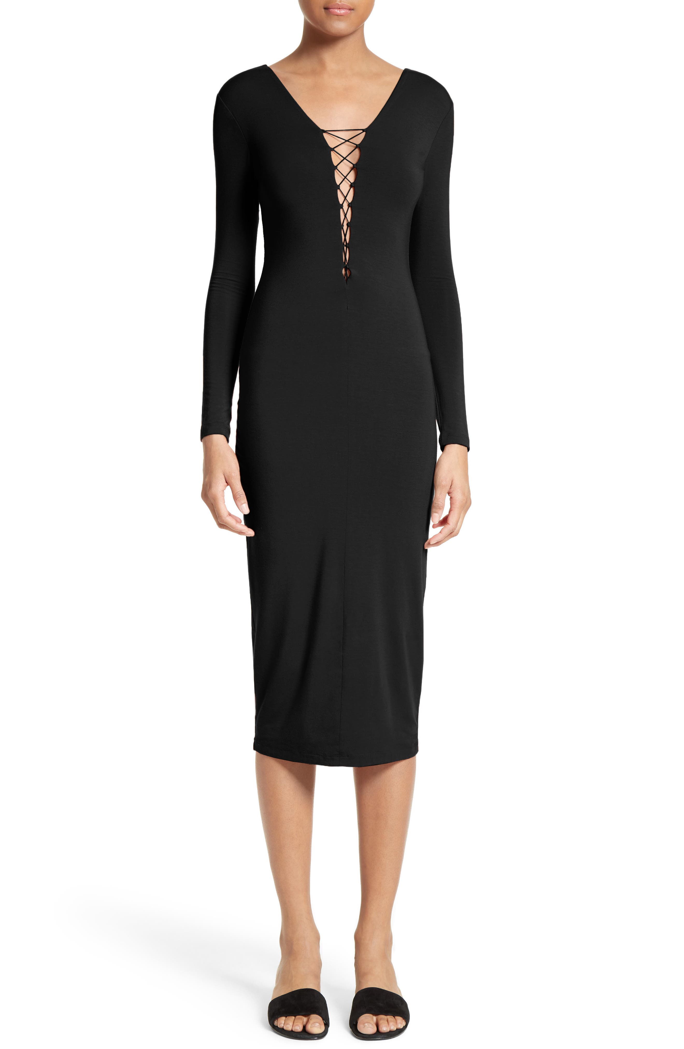 T by Alexander Wang Lace-Up Midi Dress