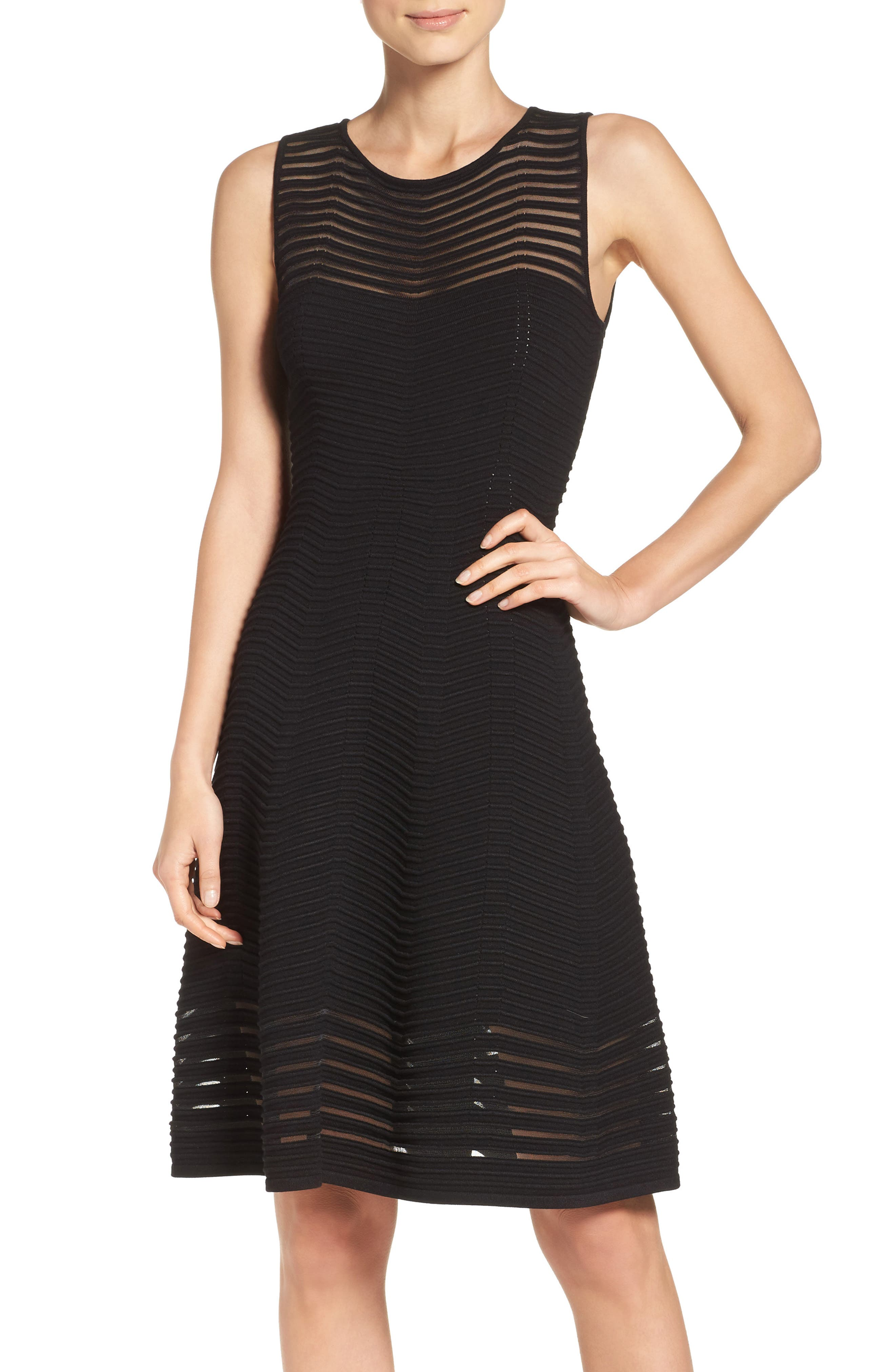 Chevron Fit & Flare Dress,                         Main,                         color, Black