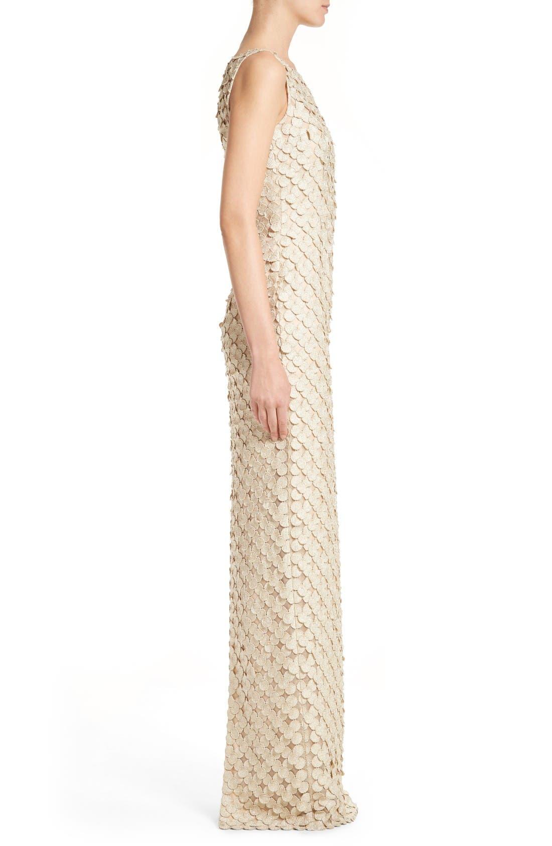Alternate Image 3  - Carmen Marc Valvo Couture Circle Appliqué Sleeveless Column Gown