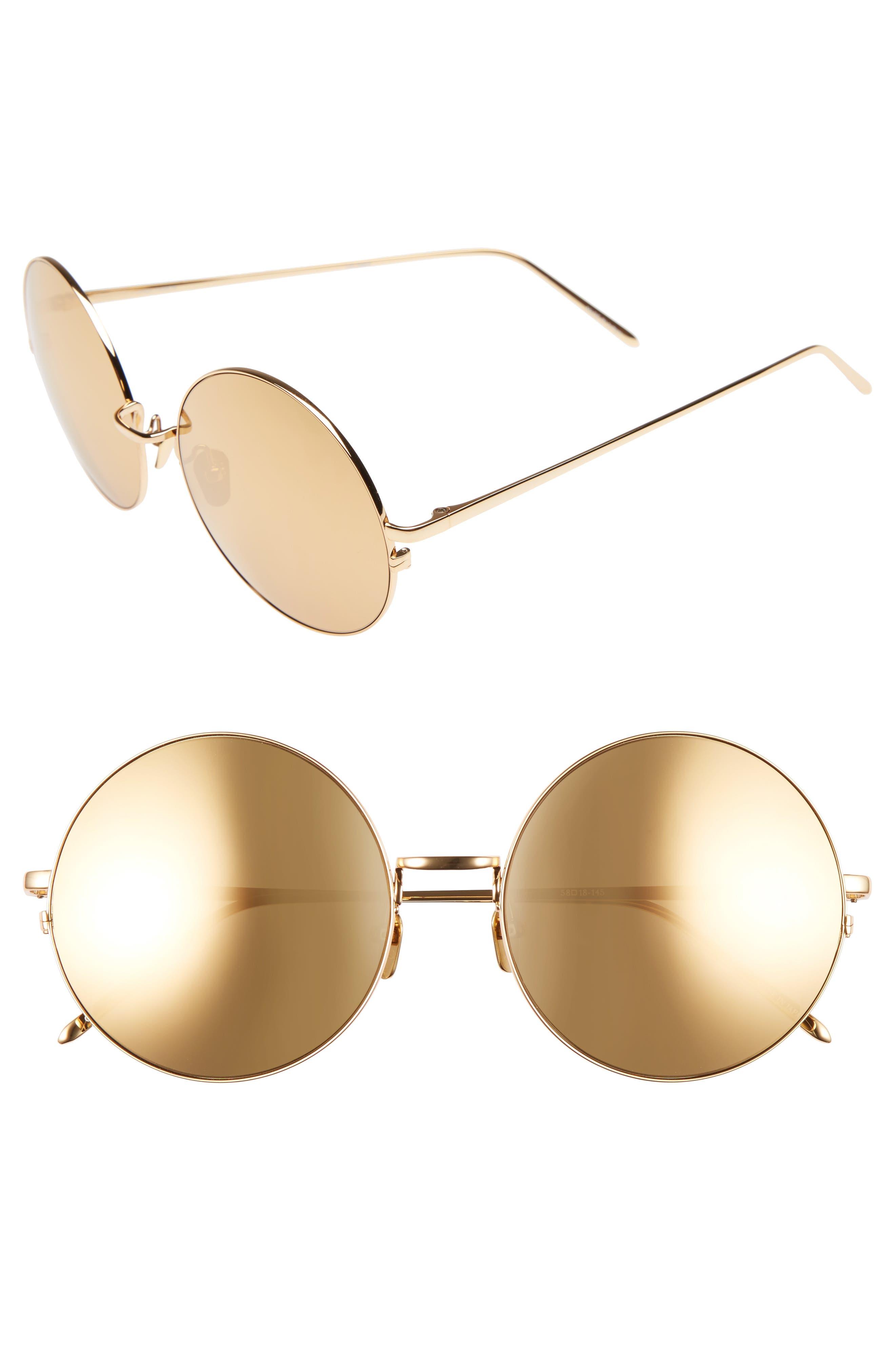 58mm 22 Karat Gold Trim Sunglasses,                             Main thumbnail 1, color,                             Yellow Gold/ Gold
