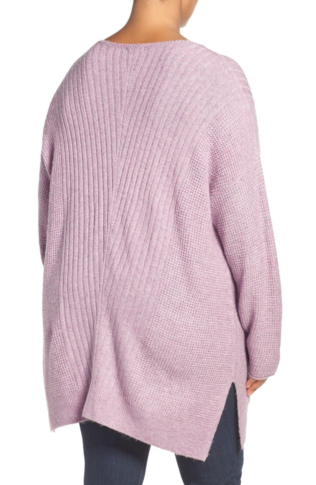 Mixed Stitch V-Neck Tunic Sweater,                             Alternate thumbnail 3, color,                             Heather Purple Morn